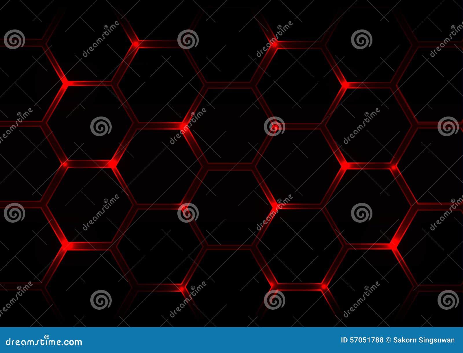 Abstracte donkerrode achtergrond met zeshoeken en rood licht