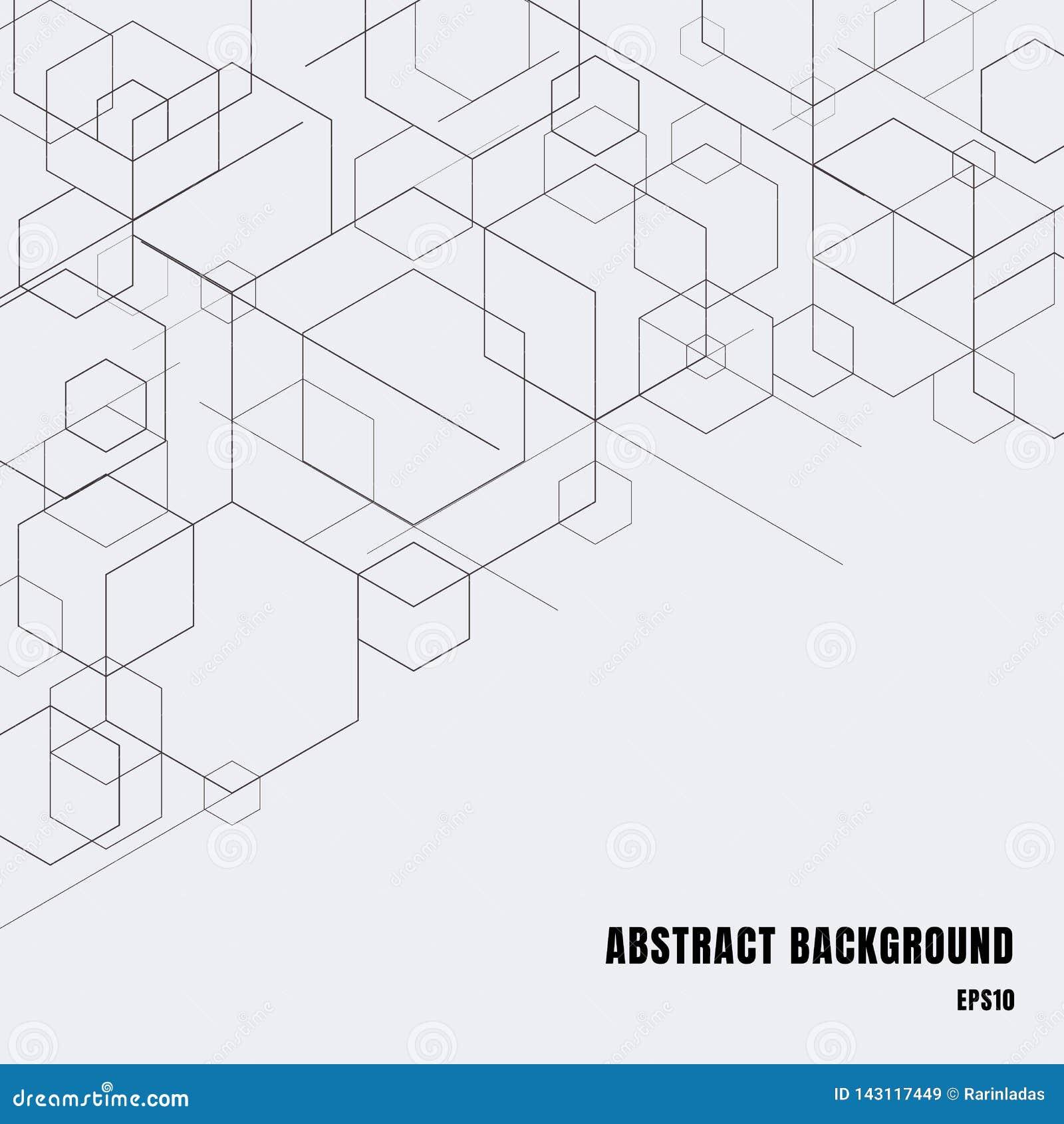 Abstracte dozen zwarte lijnen op grijze achtergrond De moderne geometrische vorm van technologie digitale patronen Hexagon meetku