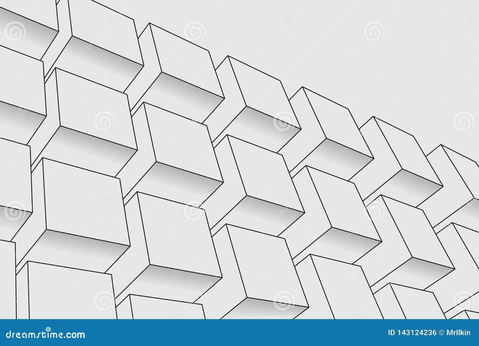 Abstracte dozenachtergrond Moderne technologie met vierkante opening Geometrische Lijnen Kubuscel