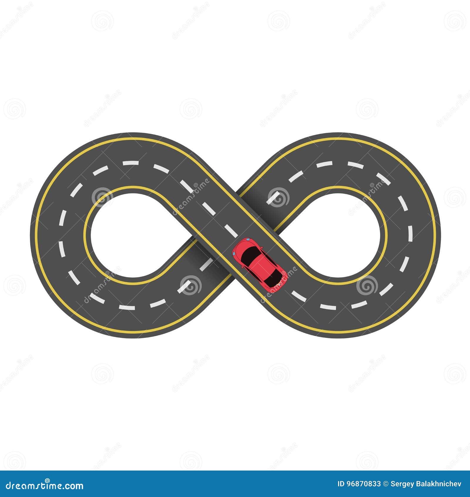 Abstracte eindeloze die weg op witte achtergrond wordt geïsoleerd Beeldverhaal rode auto De rijweg