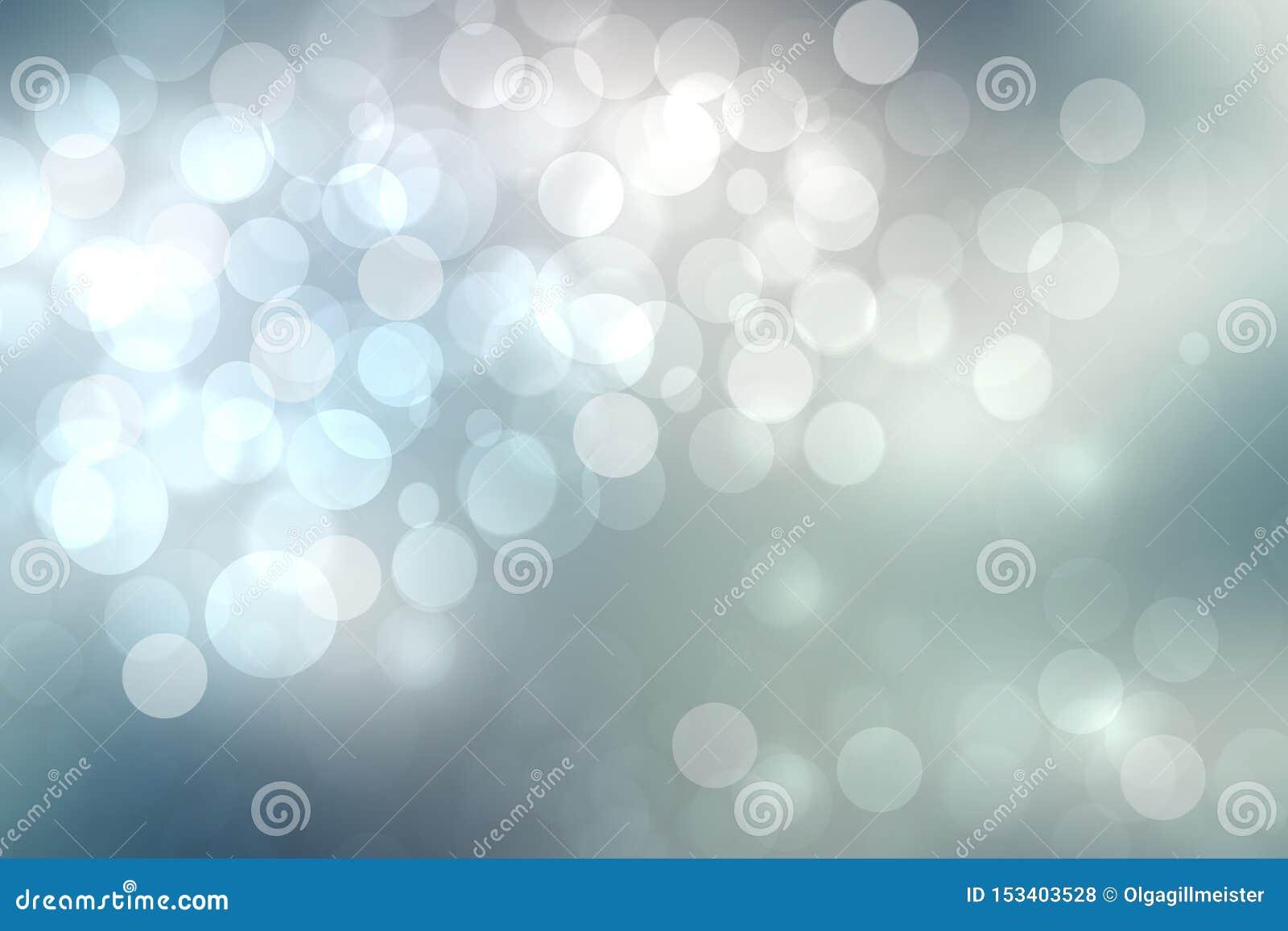 Abstracte feestelijke lichtblauwe zilveren bokehtextuur als achtergrond met kleurrijke cirkels en bokeh lichten Mooie achtergrond