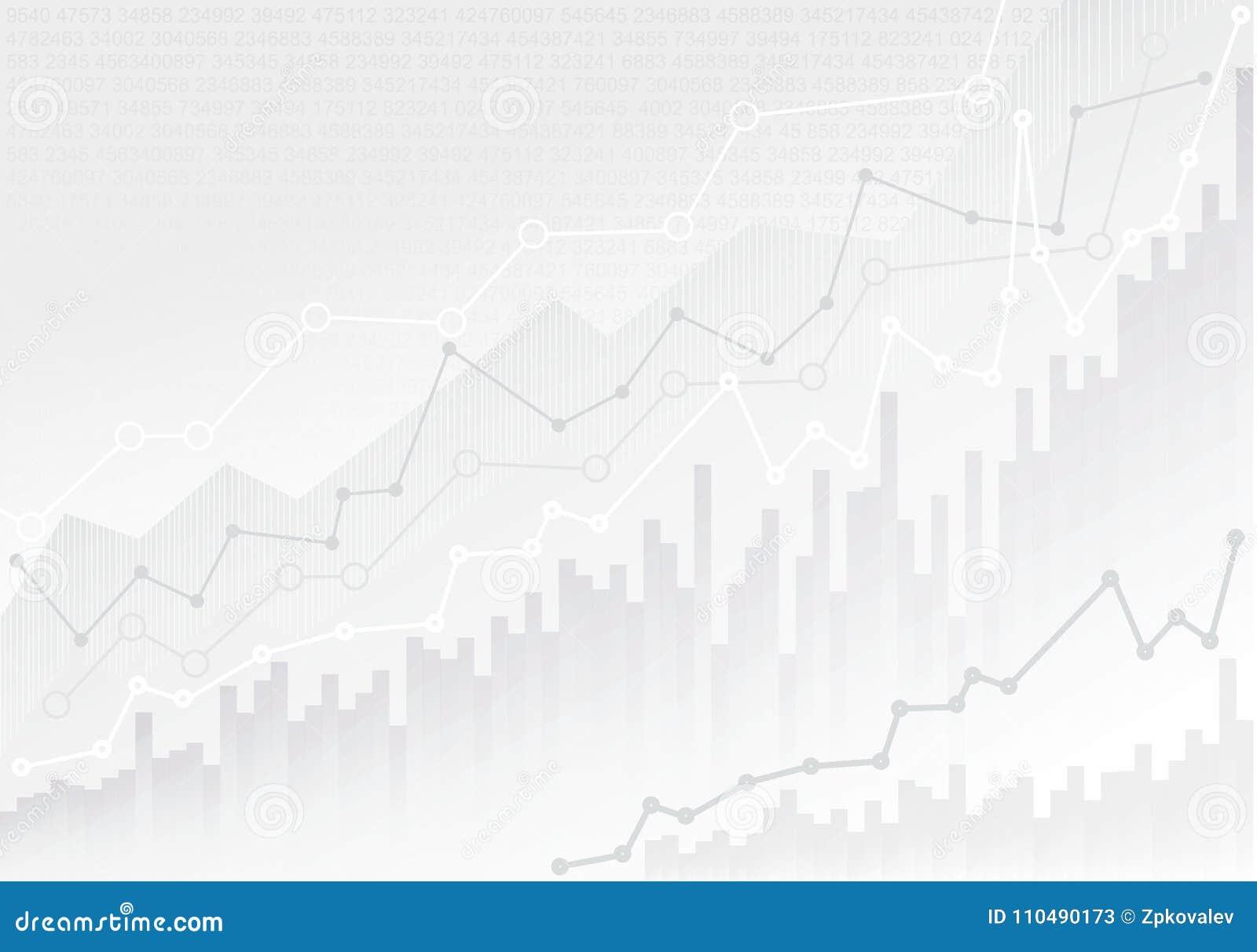 Abstracte financiële grafiek met de grafiek van de tendenslijn en aantallen in effectenbeurs Modelmalplaatje Klaar voor Uw Ontwer