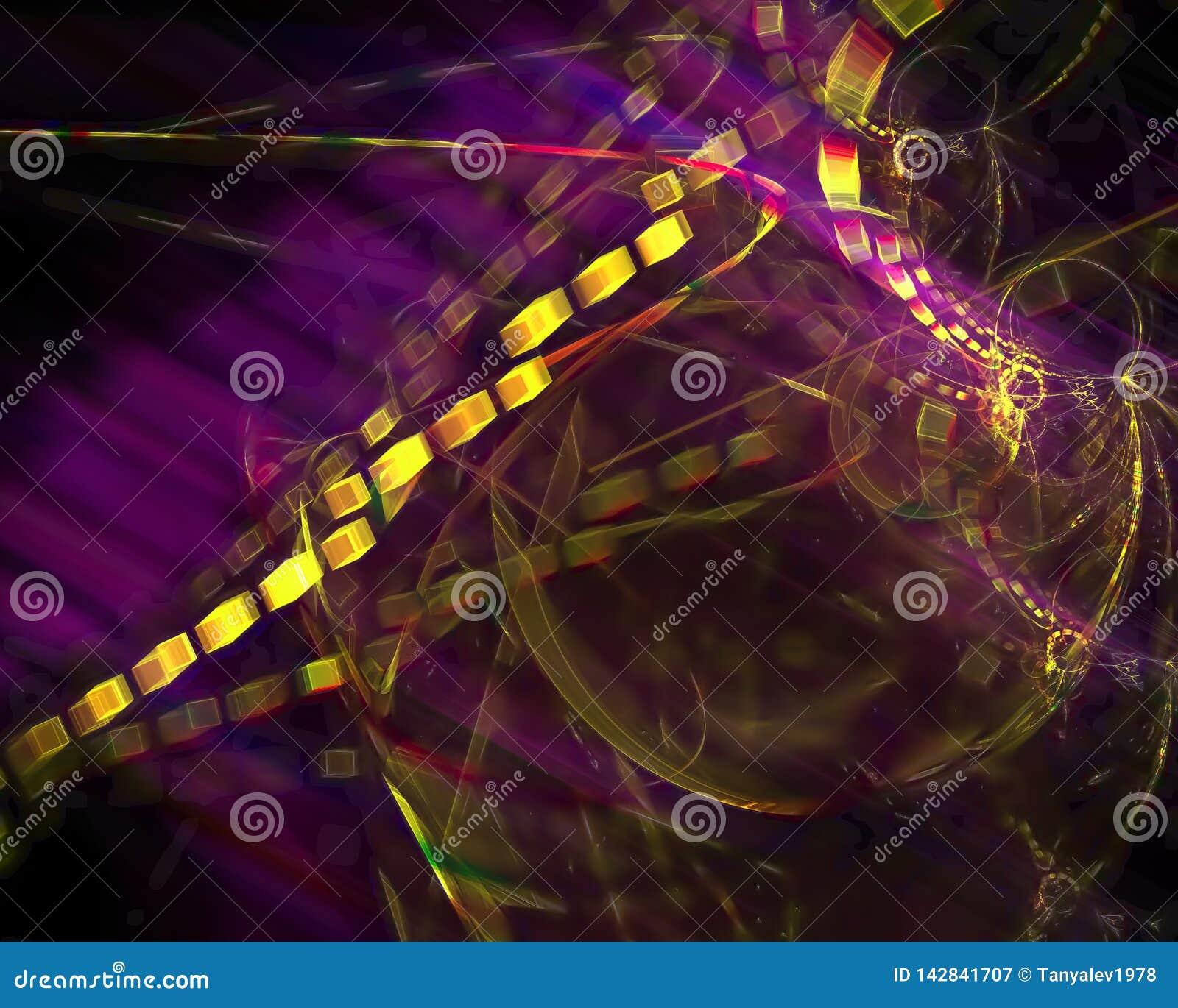 Abstracte fractal, decoratief magisch licht malplaatjeontwerp, werveling
