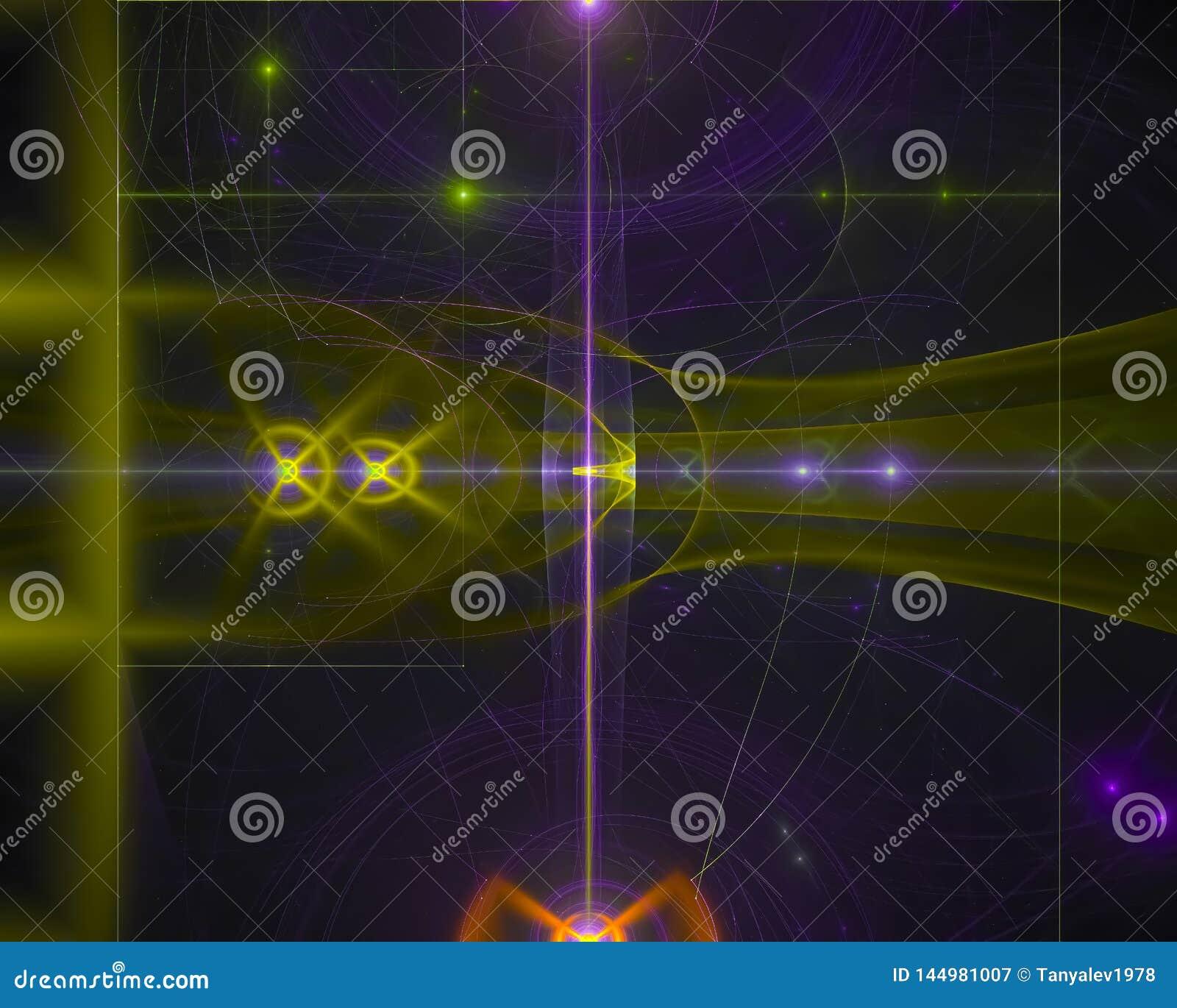 Abstracte fractal, futuristische stroomverbeelding maakt werveling het trillende magische ornament van de het ontwerpverbeelding