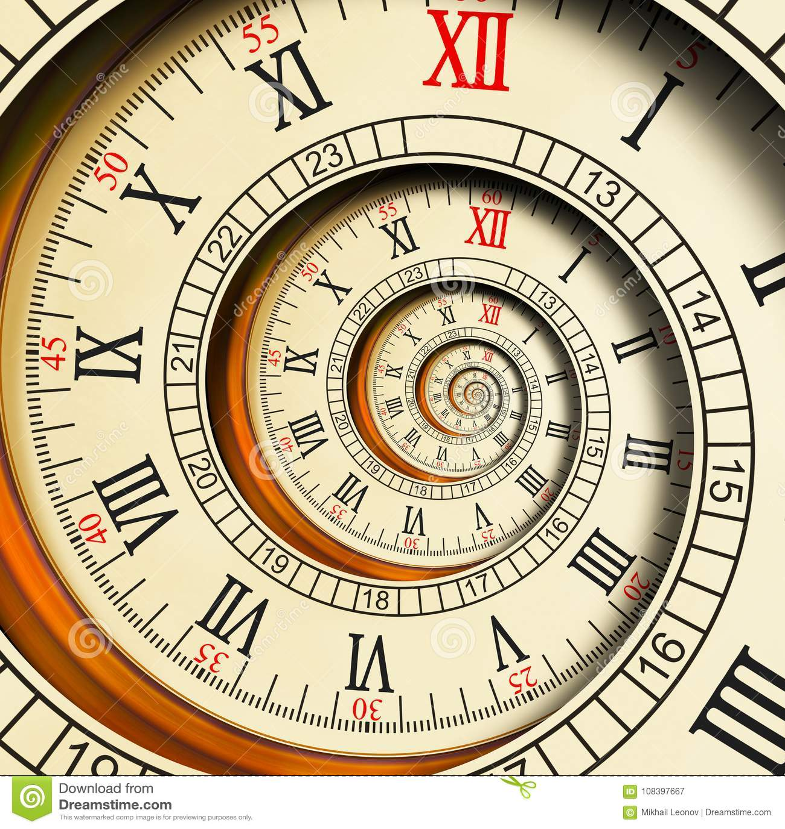 Abstracte fractal van hoge resolutie Antieke oude spiraalvormige klokken spiraal De textuurfractal van de horlogeklok ongebruikel