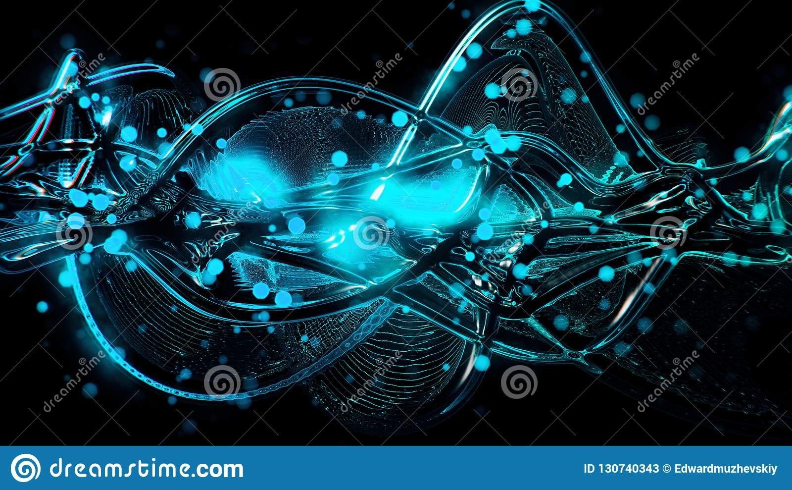 Abstracte futuristische heldere blauwe en cyaan gesmolten glasgolven en rimpeling