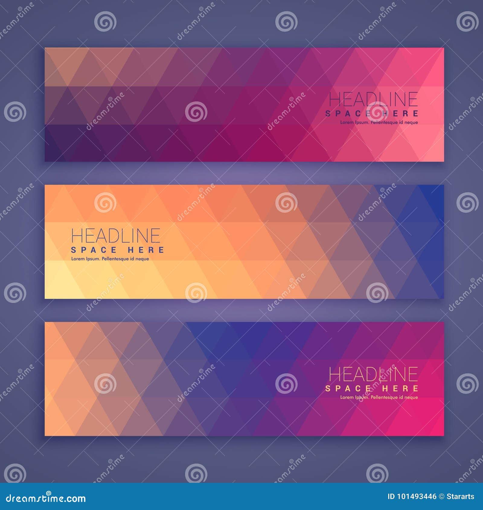 Abstracte geometrische geplaatste vormbanners