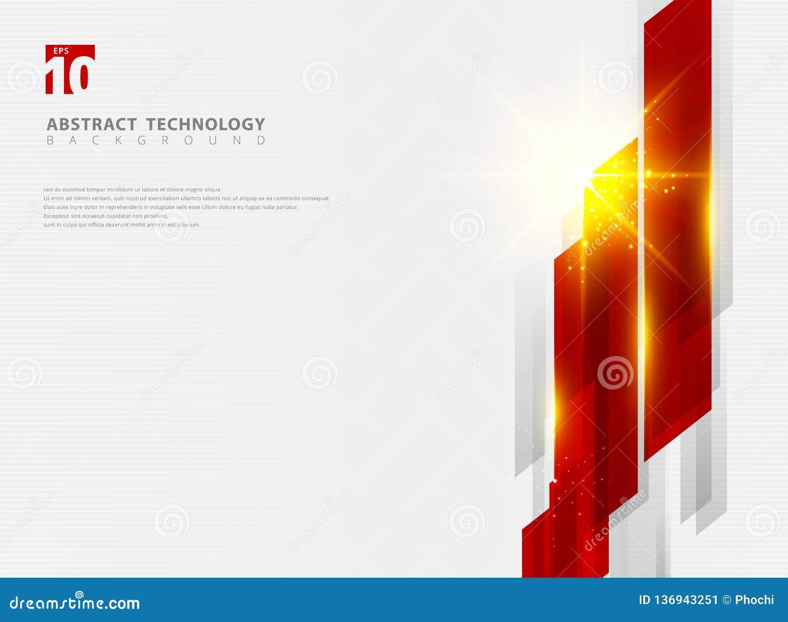 Abstracte glanzende de motieachtergrond van de technologie geometrische rode kleur met verlichtingseffect
