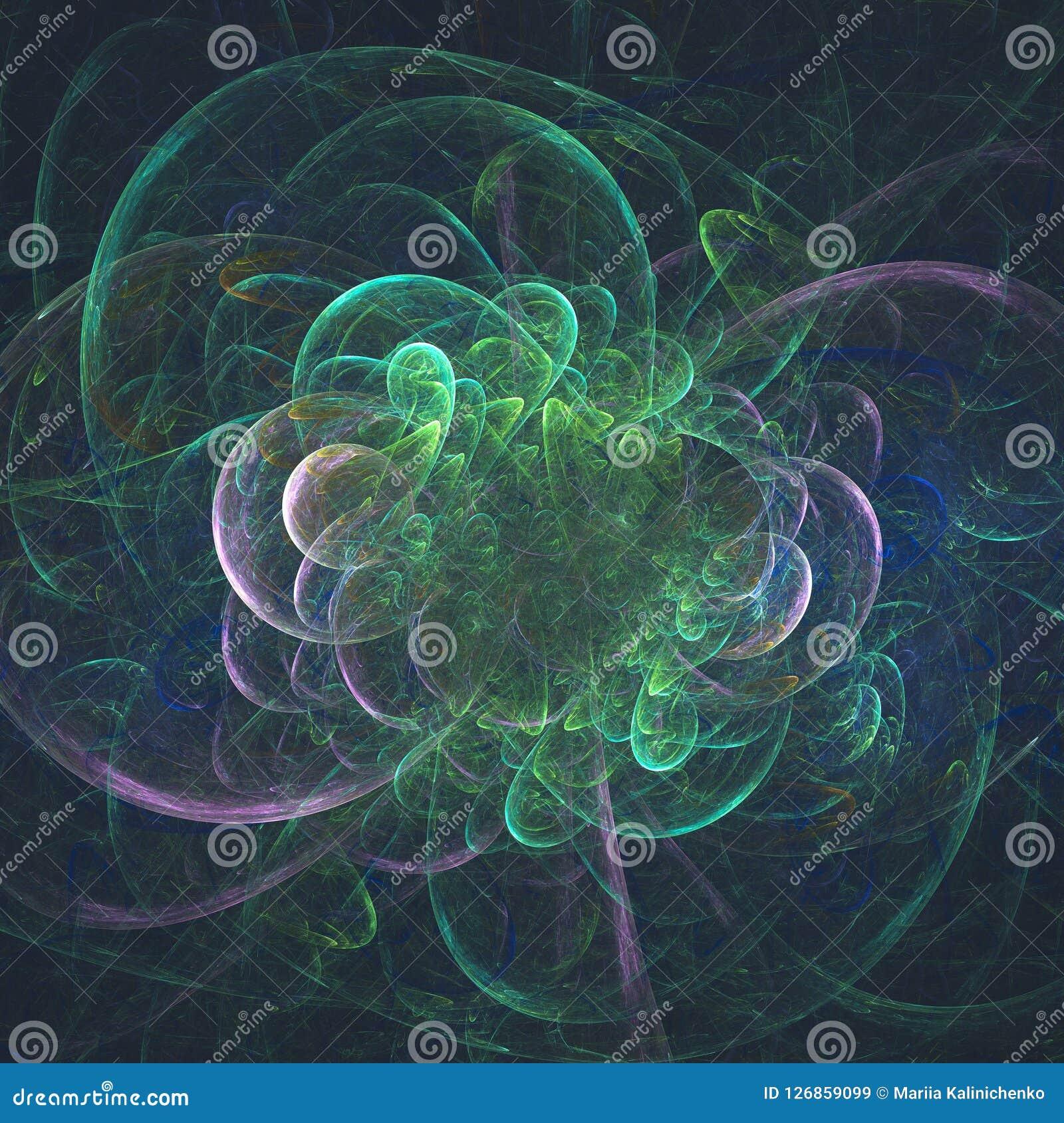 Abstracte gloeiende fractal surreal bloem in motie Computergen