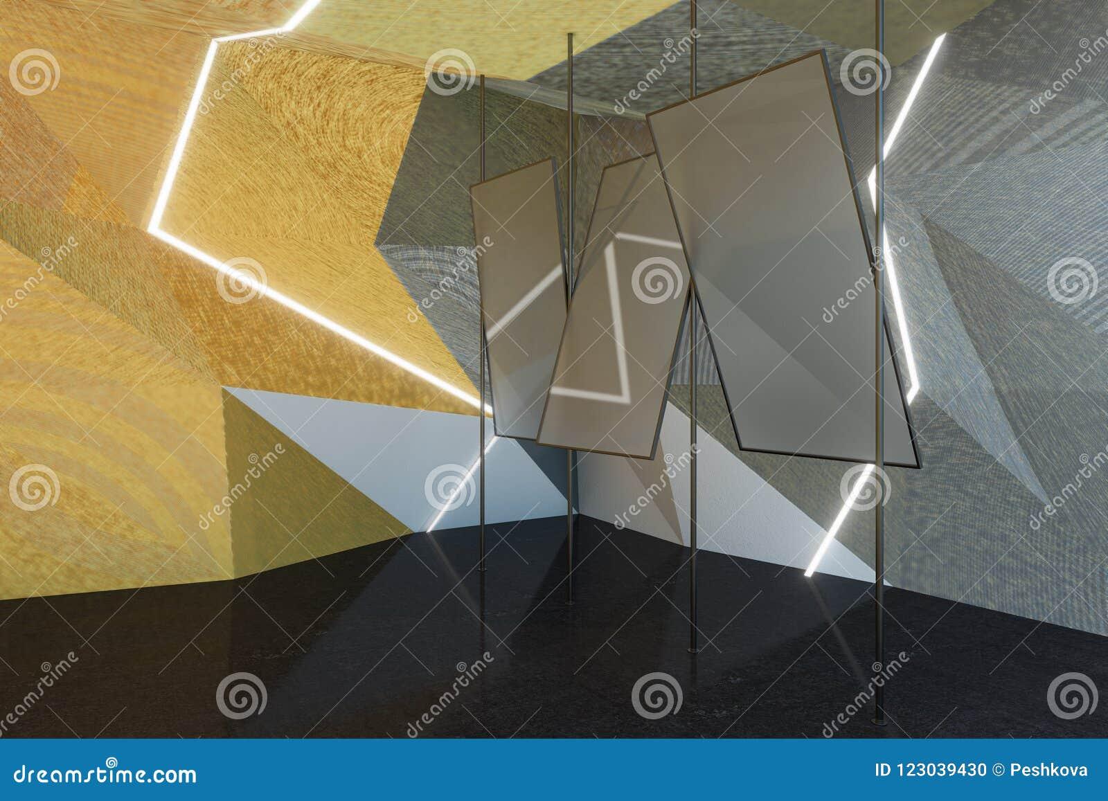 Abstracte grijze ruimte met spiegels