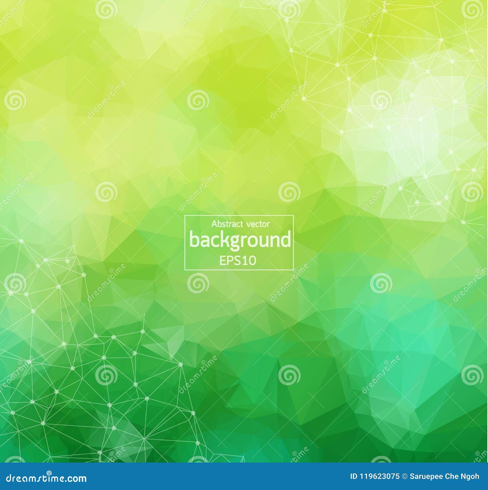 Abstracte Groen Licht Geometrische Veelhoekige molecule en mededeling als achtergrond Verbonden lijnen met punten Concept de wete