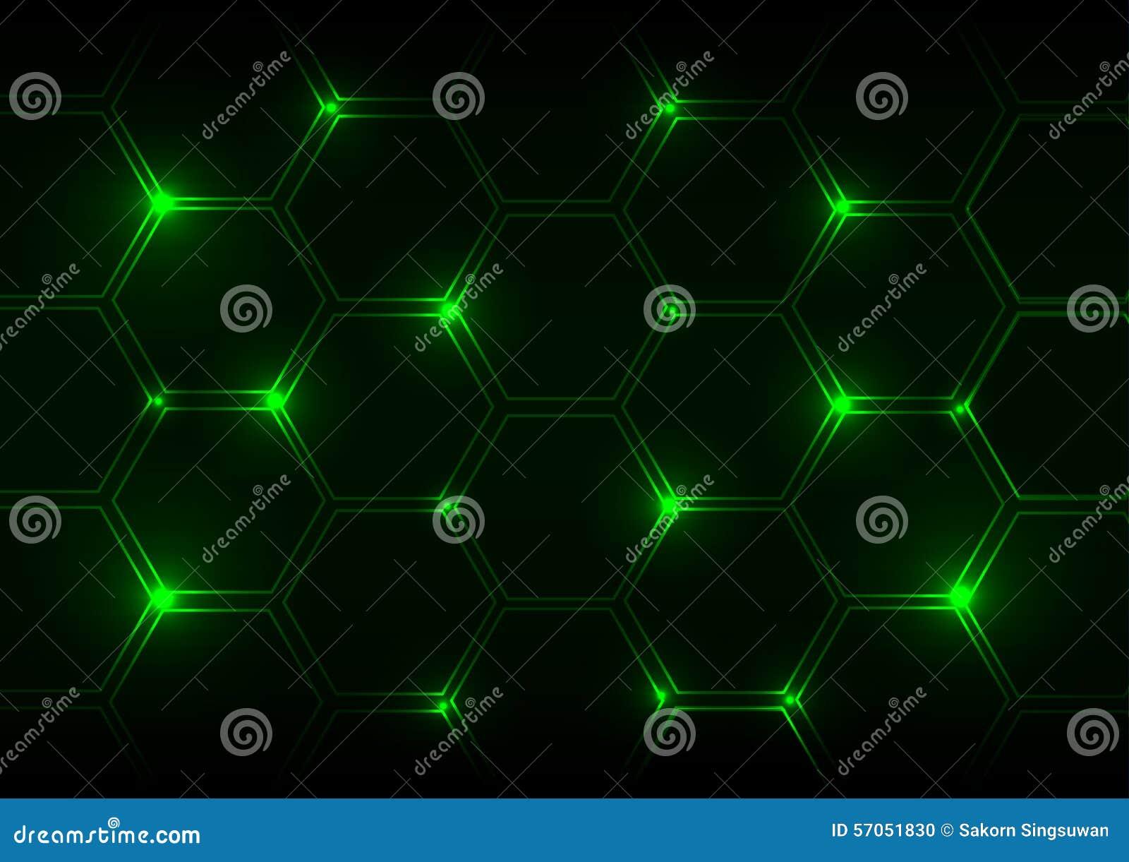 Abstracte groen lichtachtergrond met zeshoeken