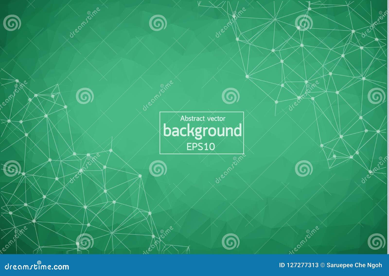 Abstracte Groene Geometrische Veelhoekige molecule en mededeling als achtergrond Verbonden lijnen met punten Concept de wetenscha