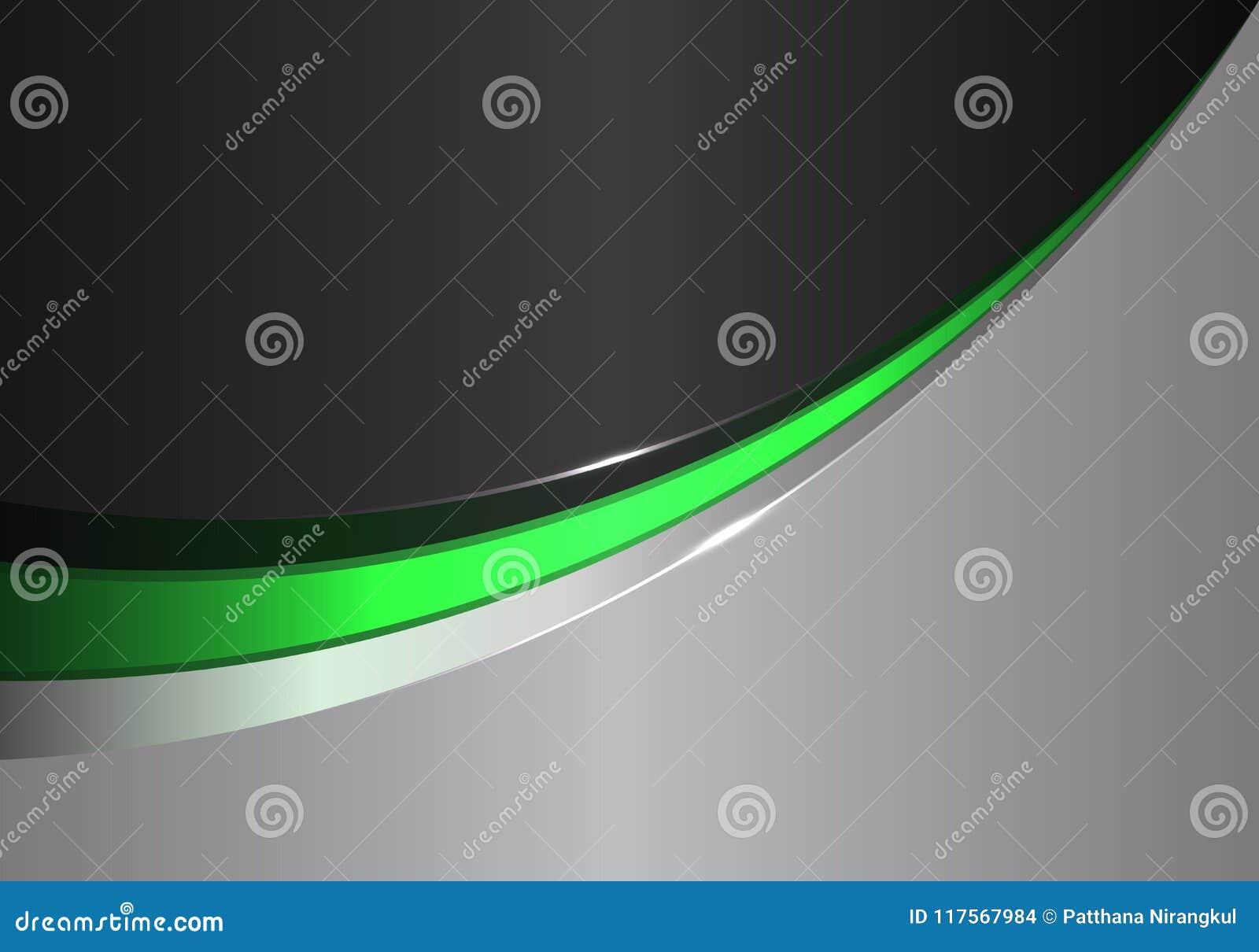 Abstracte groene lijnkromme op zwarte grijze ontwerp moderne futuristische vector als achtergrond