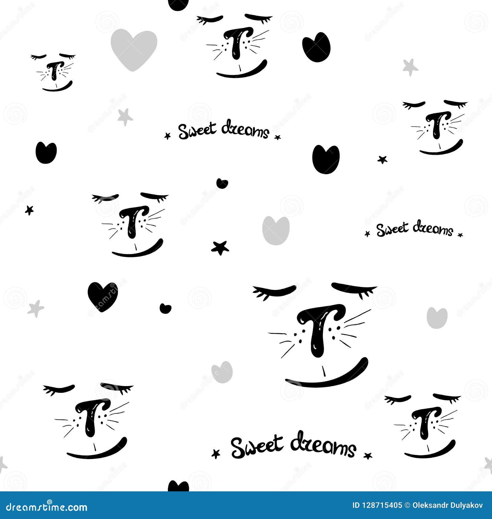 Abstracte Hand Getrokken Krabbel Zwarte witte Naadloze Patronen Als achtergrond met Katten Zoete Dromen vector naadloos patroon v