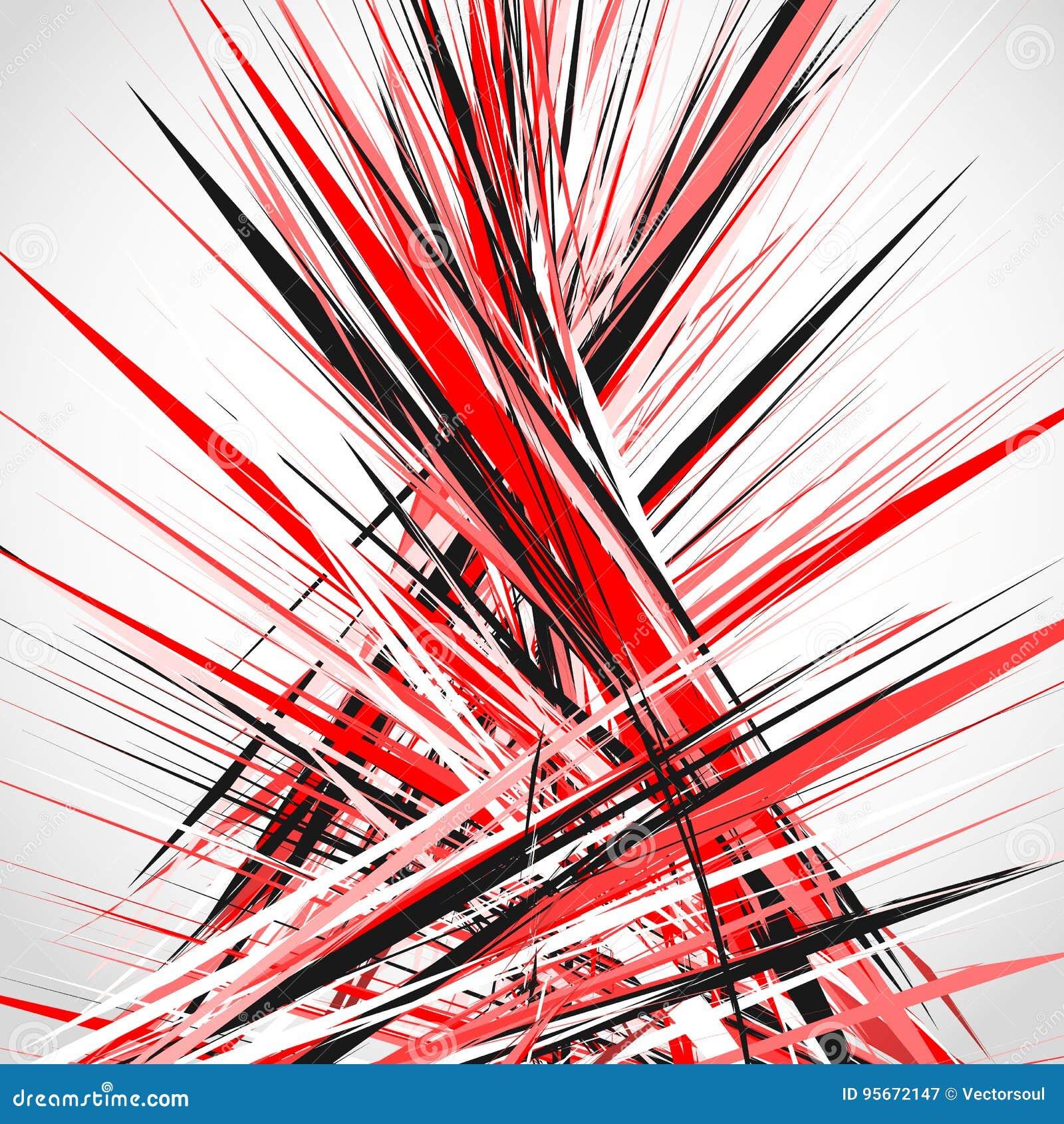 Abstracte illustratie met dynamische grungy lijnen Geweven rode pa