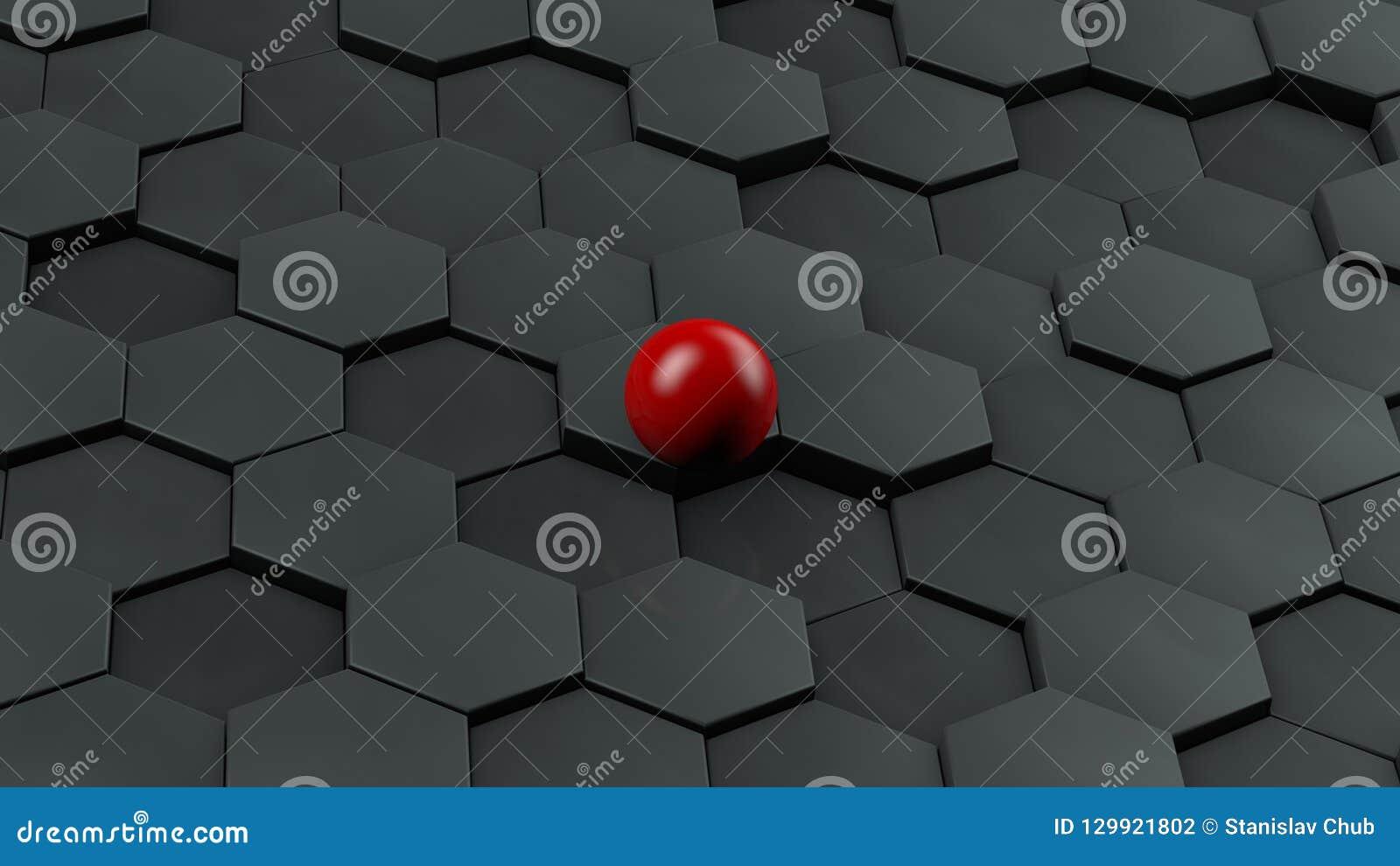 Abstracte illustratie van zwarte zeshoeken van verschillende grootte en rode bal die in het centrum liggen Het idee van uniciteit