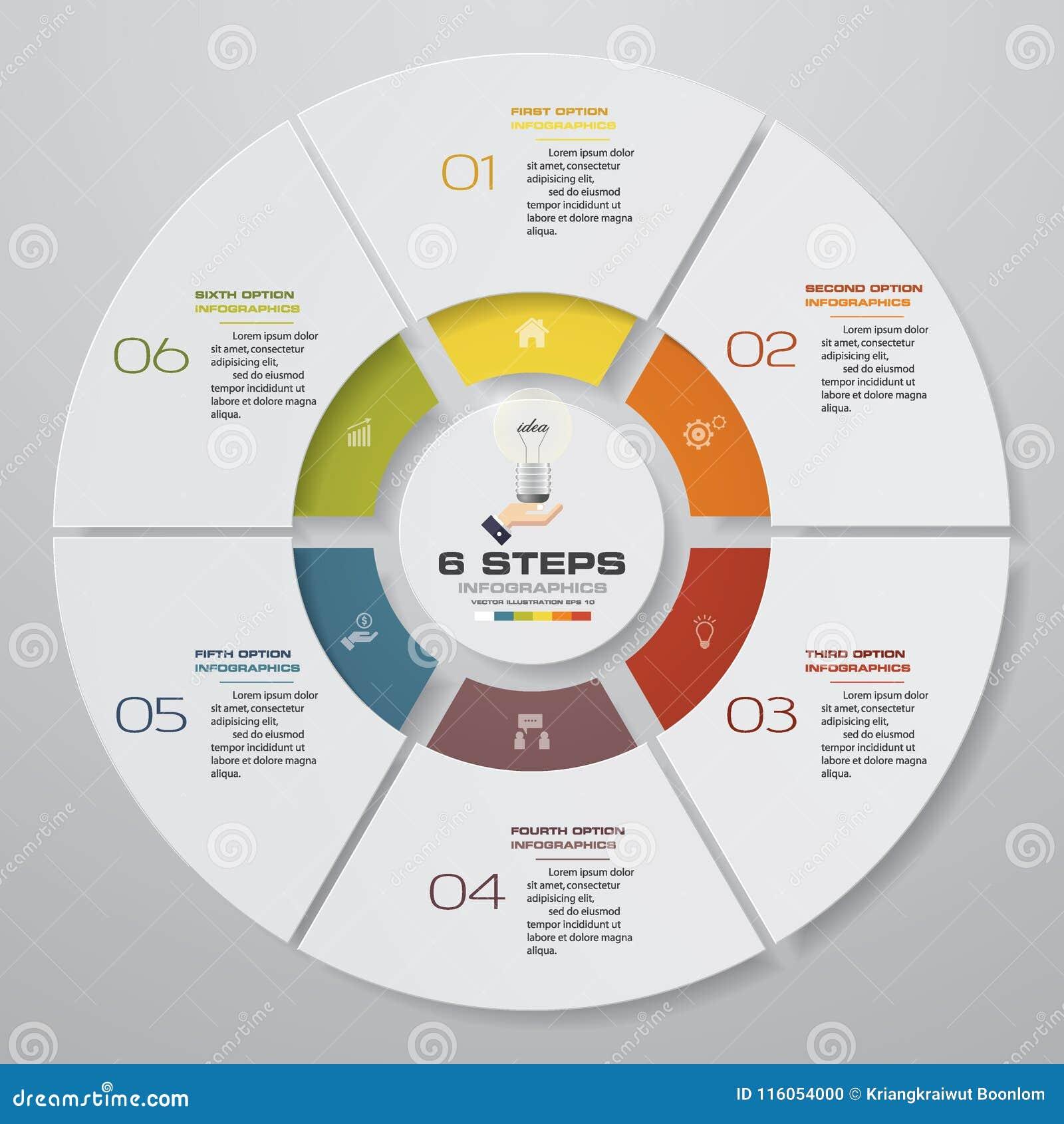 Abstracte 6 infographicselementen van het stappen moderne cirkeldiagram Vector illustratie