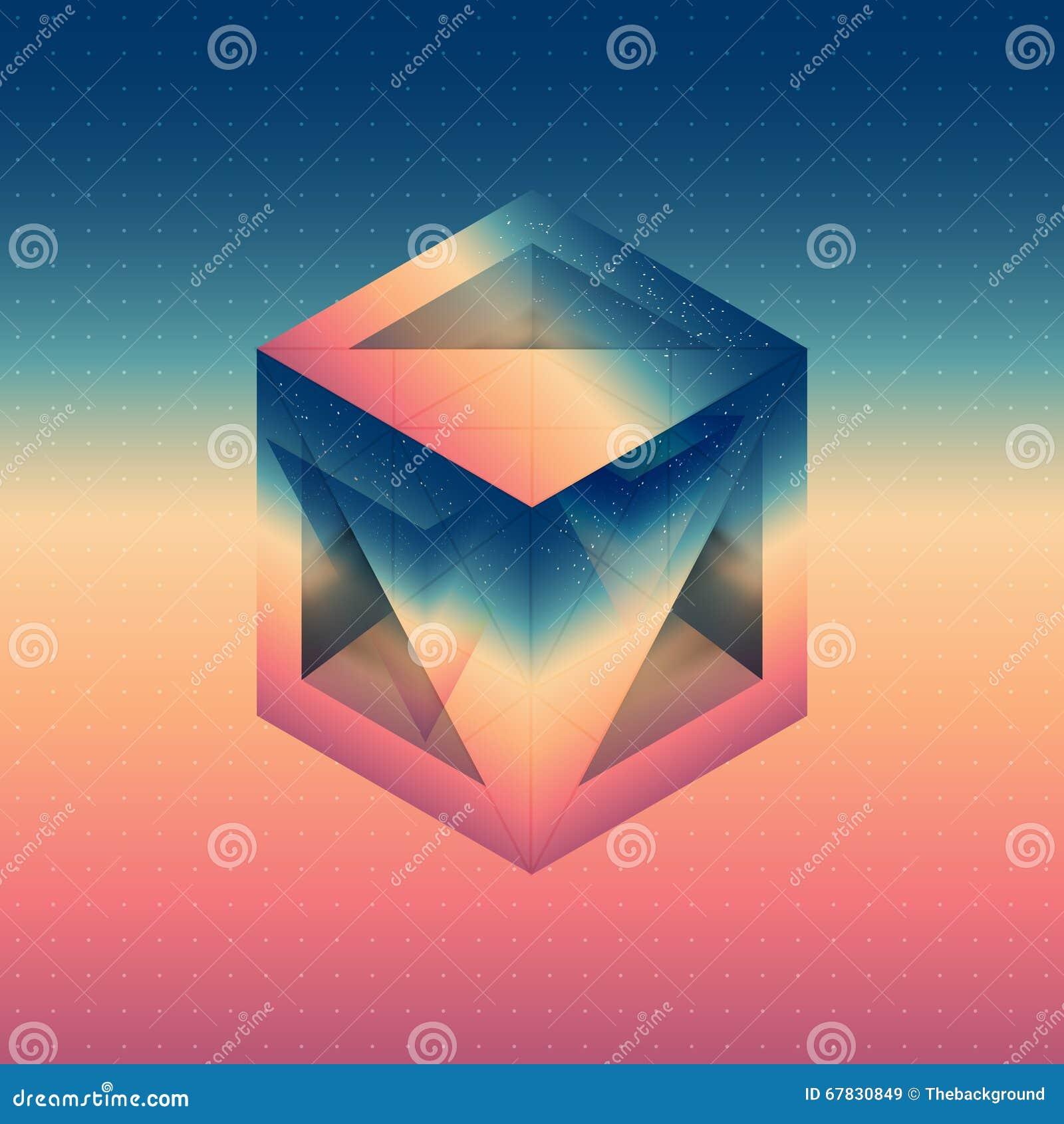 Abstracte isometrische kubus met de weerspiegeling van de ruimte en laag