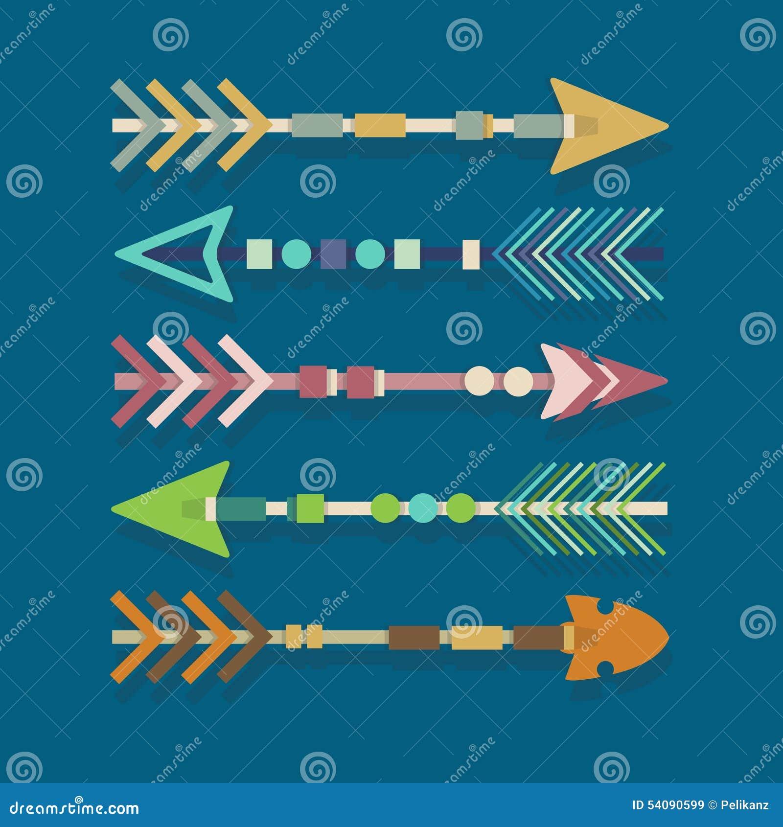 Abstracte kleurrijke Azteekse stammen geplaatste pijlen