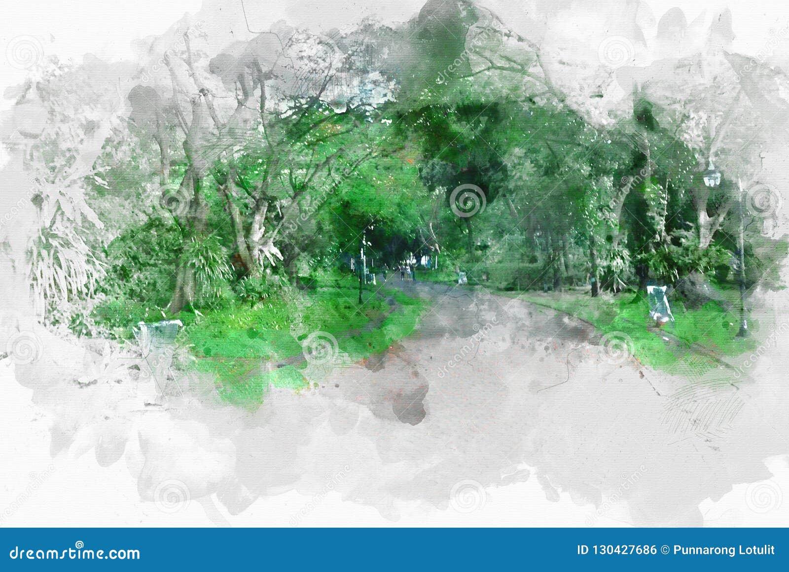 Abstracte kleurrijke gang en straat bij waterverfillustratie het schilderen