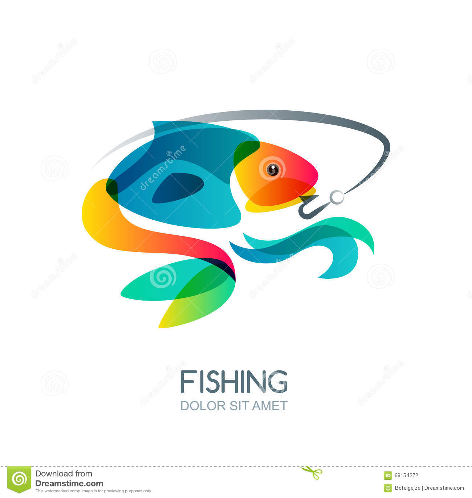 Abstracte kleurrijke vissen en visserijhaak Vector visserijembleem, etiket, de elementen van het embleemontwerp