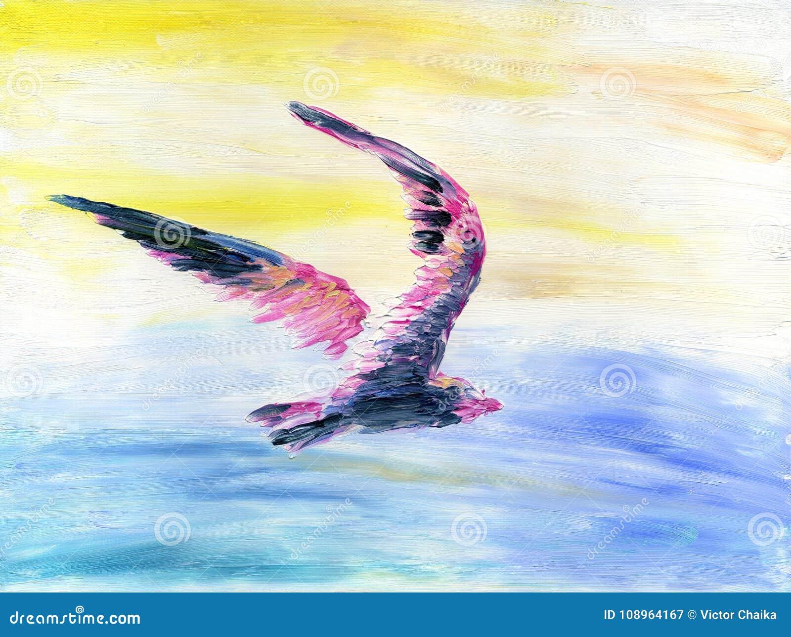 Abstracte kleurrijke vogel die hoog in de hemel boven het overzees vliegen