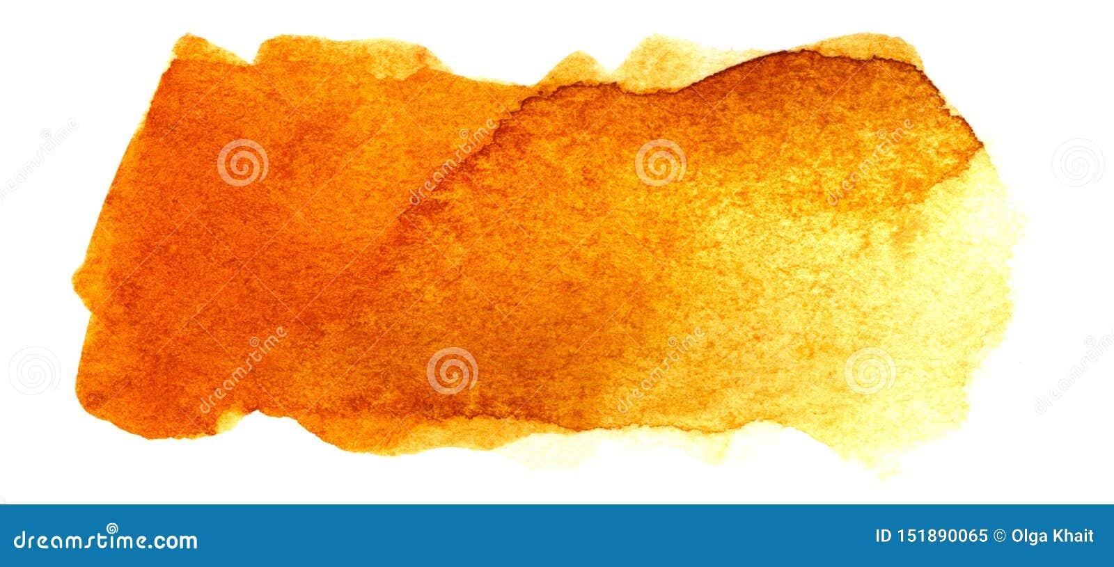 Abstracte krantekopachtergrond Een vormeloze langwerpige vlek van gouden oranjegele kleur Gradiënt van dark aan licht