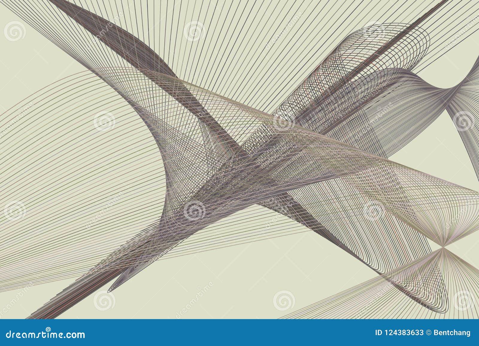 Abstracte lijn & kromme geometrisch patroon, kleurrijk & artistiek voor grafisch ontwerp Vector, behang, concept & illustratie