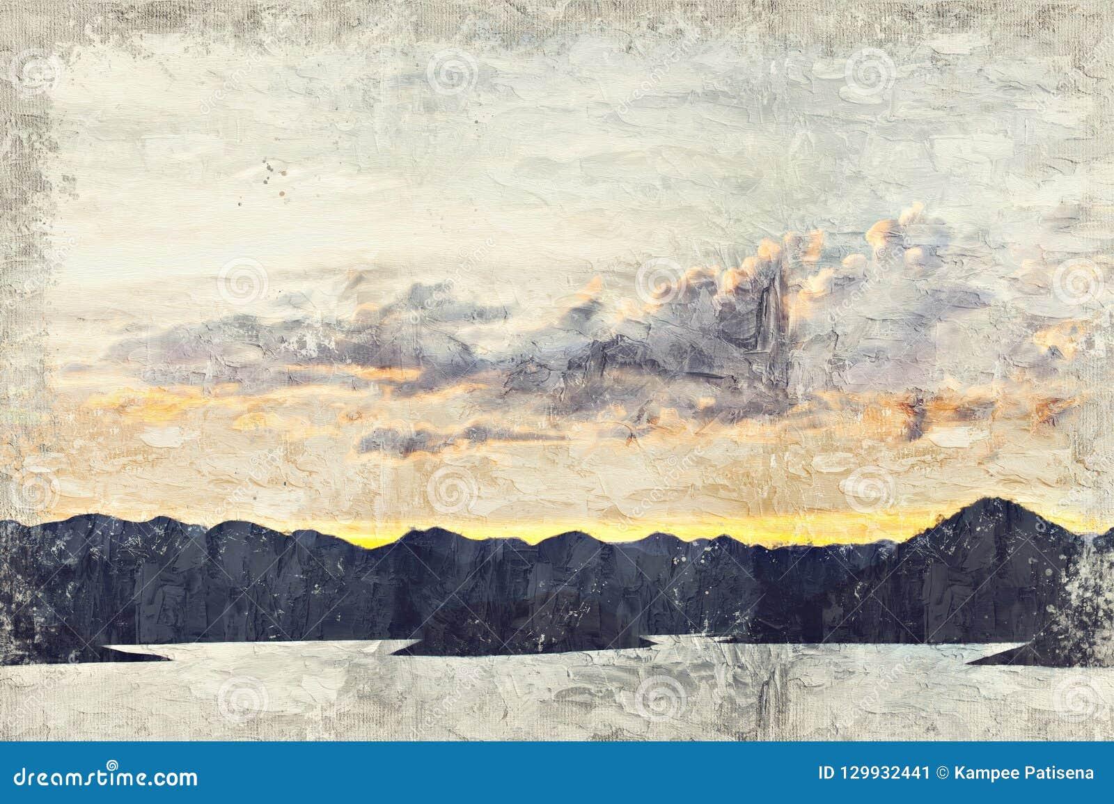 Abstracte meer en berg Digitaal Art Impasto Oil Painting langs