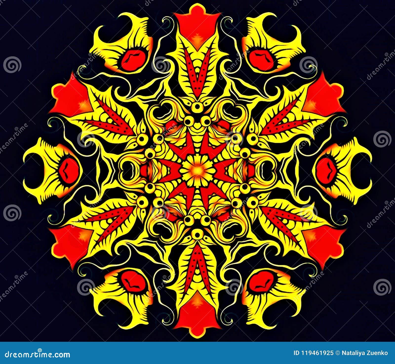 Abstracte meetkunde van modern art. Mystieke oostelijke mandala bloemencaleidoscoop traditioneel ontwerp Psychedelische symmetris