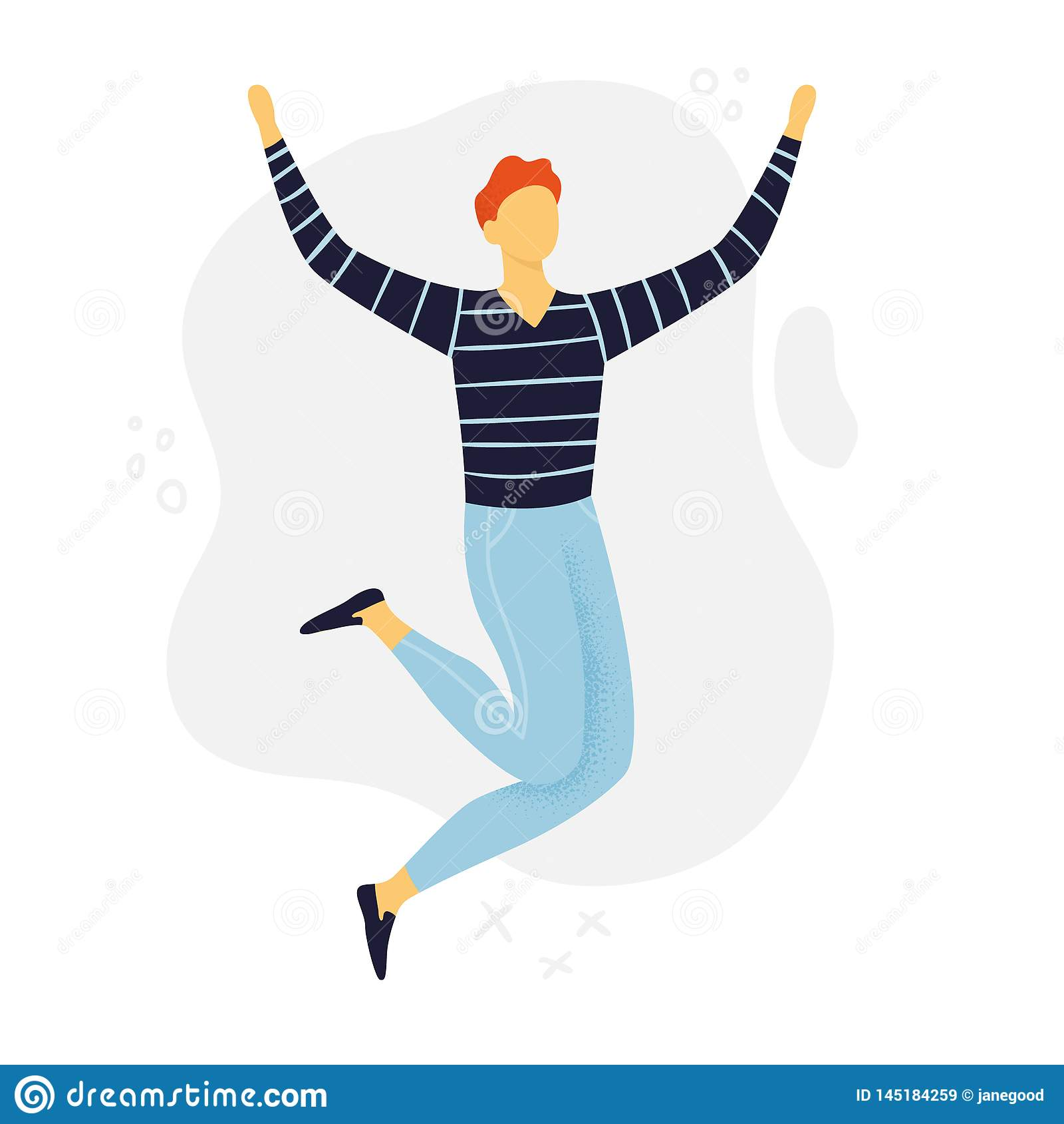 Abstracte of Mens die springen dansen De jongen van de beeldverhaalstijl in vlak ontwerp