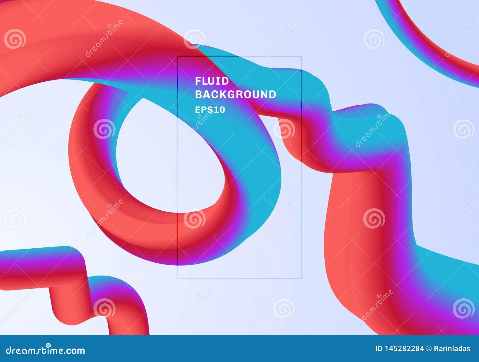 Abstracte moderne Achtergrond in trillende gradi?ntkleur De rode, roze en blauwe 3D met spiraalvormige vloeistof of verdraaide kl