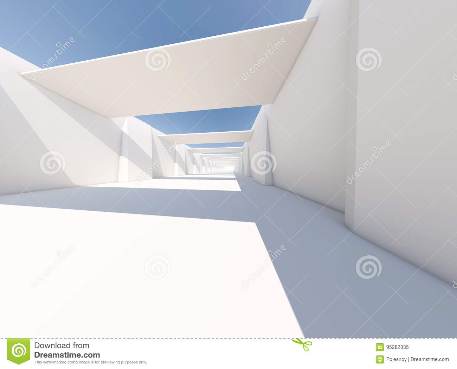 Abstracte moderne architectuurachtergrond, lege witte open plek
