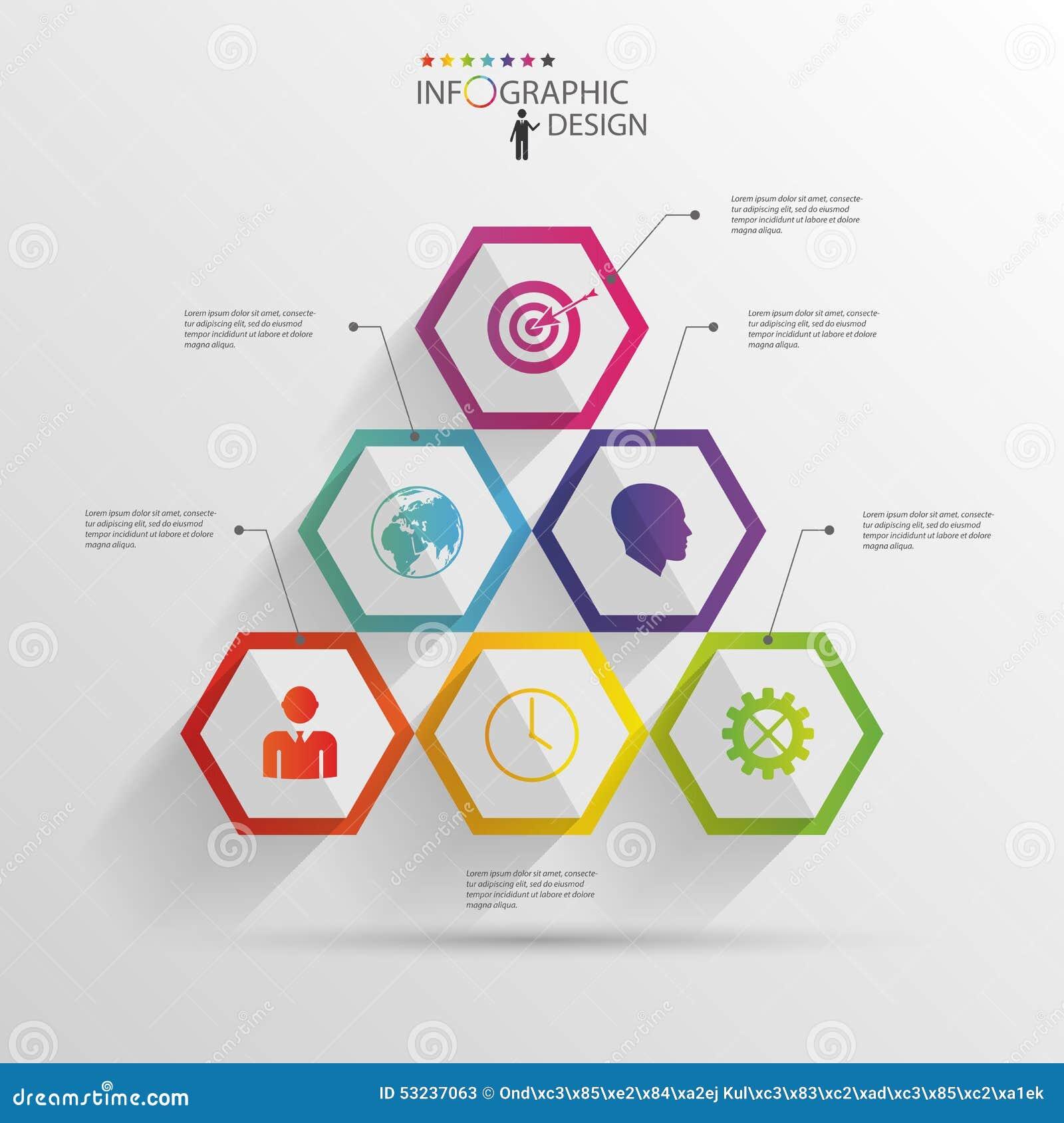 Abstracte moderne hexagonale infographic 3d digitale illustratie