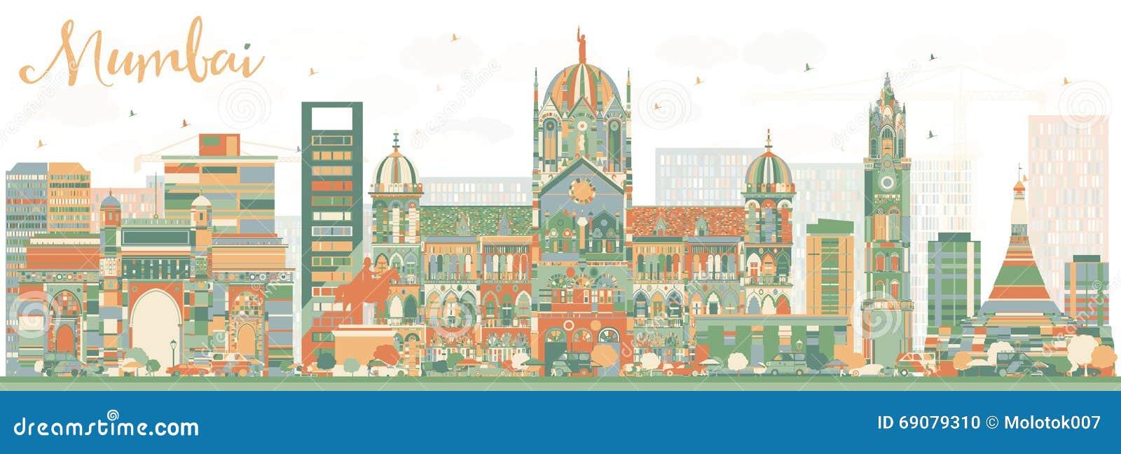 Abstracte Mumbai-Horizon met Kleurenoriëntatiepunten