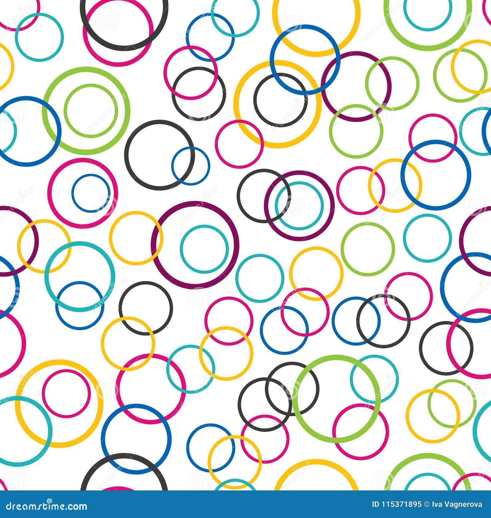 Abstracte naadloze achtergrond, cirkelringen op witte achtergrond