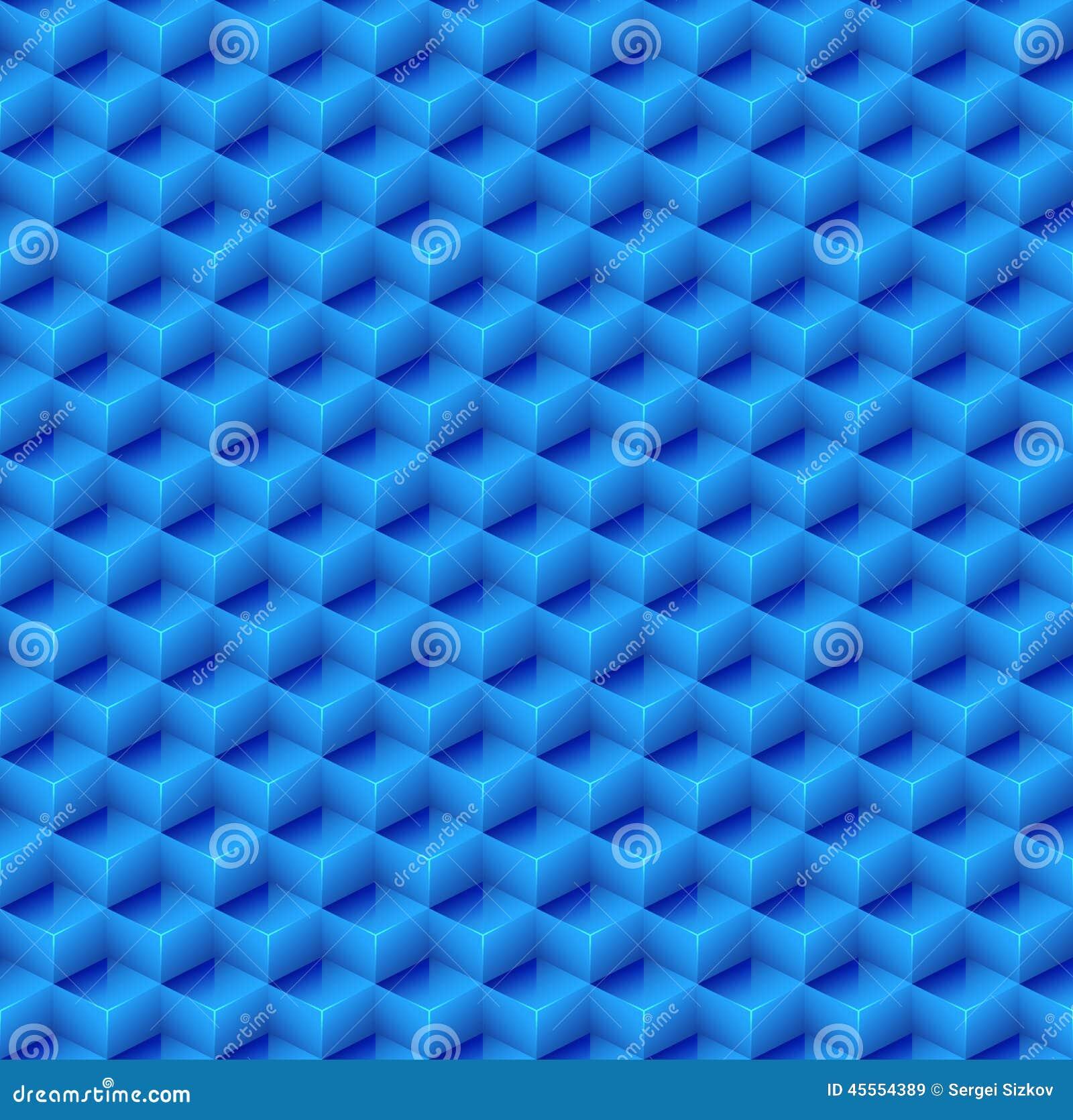 Abstracte Naadloze Blauwe Kubusachtergrond Vector