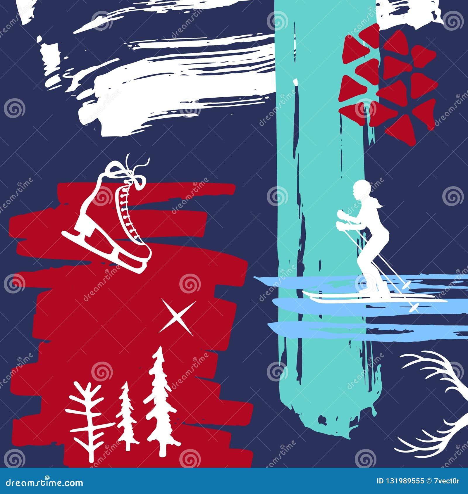 Abstracte originele Kerstmis, van de de verfborstel van de de wintertijd de texturen van de kunstslagen, schetste vleten en het s