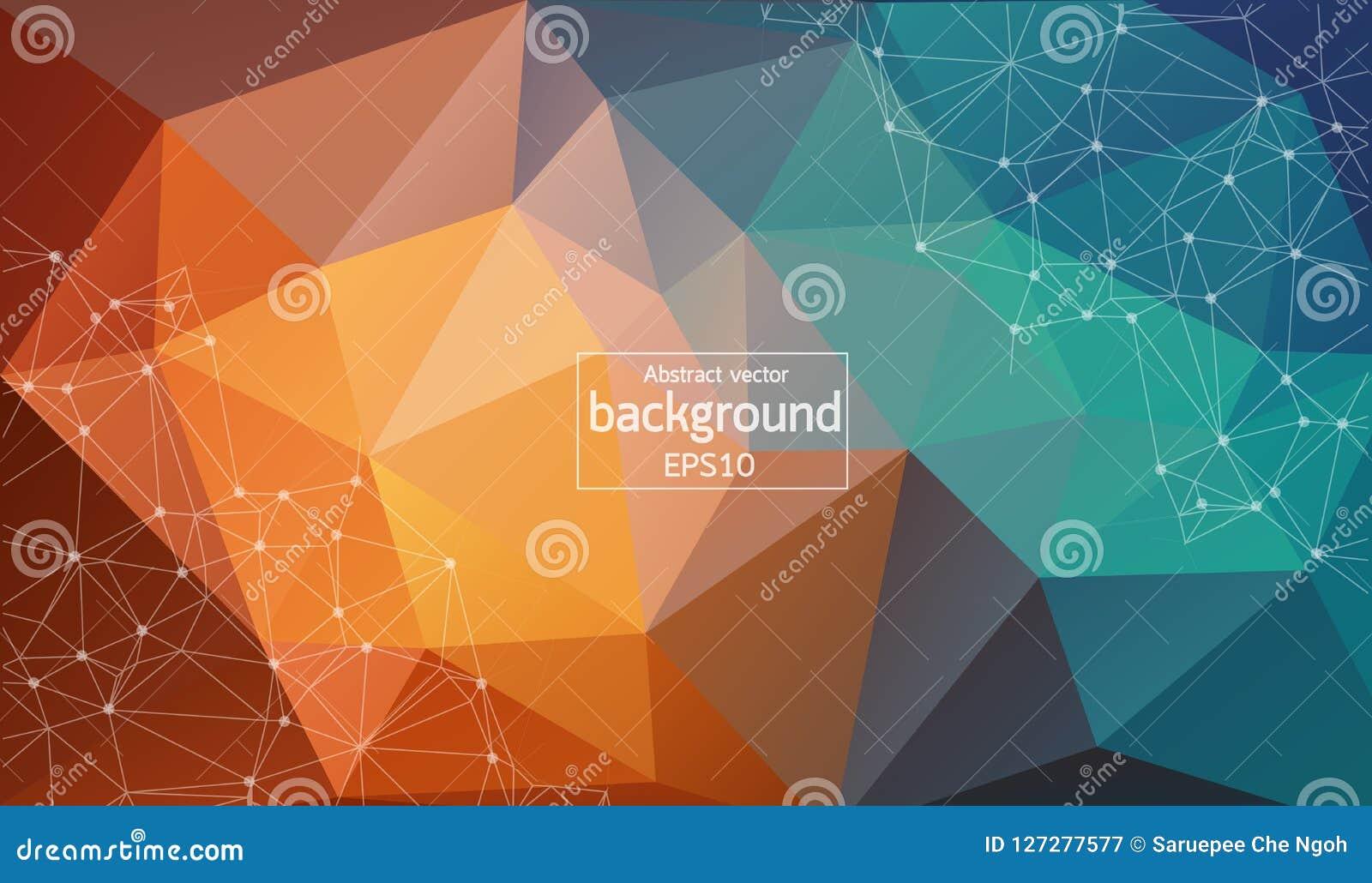 Abstracte pastelkleur Geometrische Veelhoekige molecule en mededeling als achtergrond Verbonden lijnen met punten Concept de wete