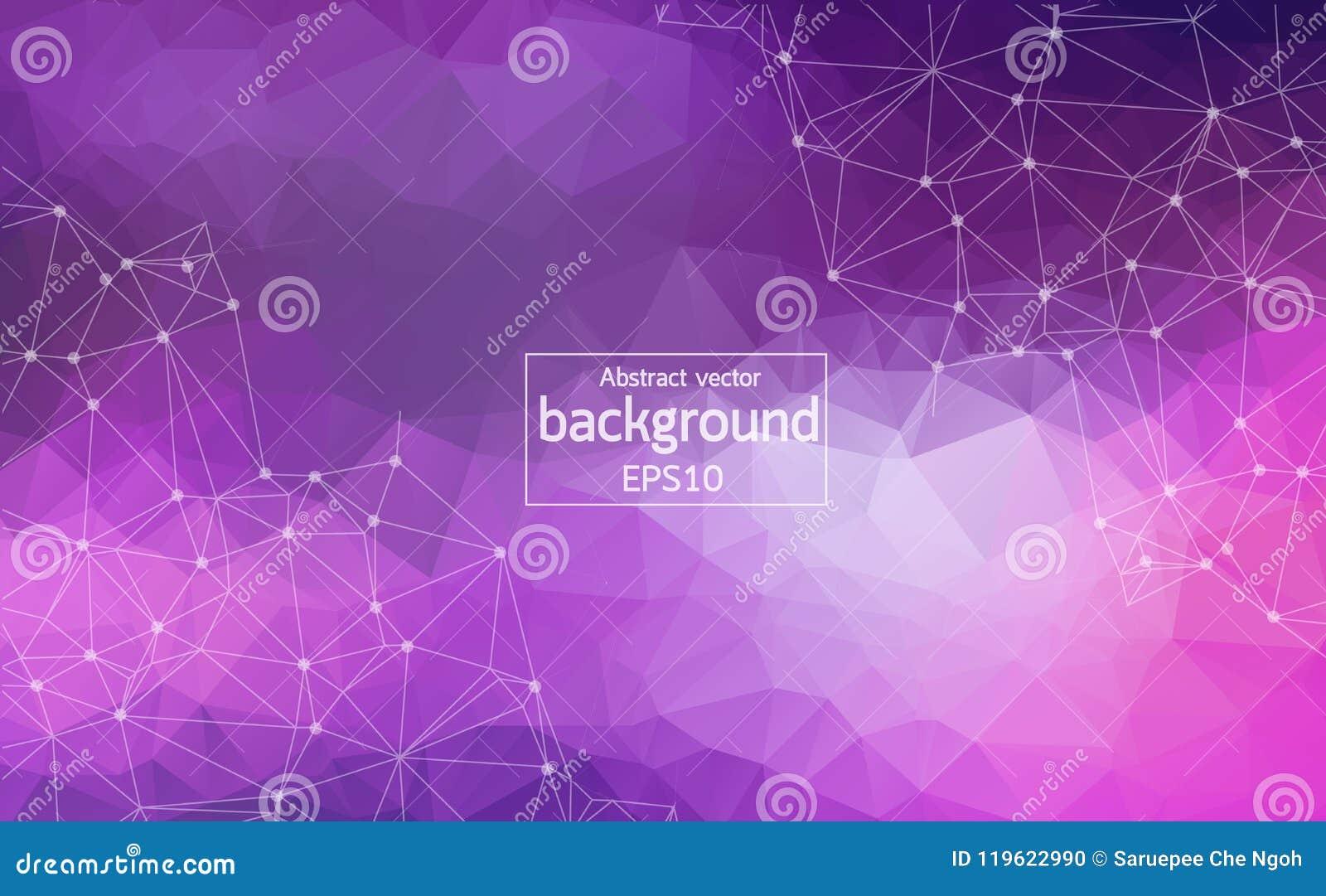 Abstracte Purpere Lichte Geometrische Veelhoekige molecule en mededeling als achtergrond Verbonden lijnen met punten Concept de w