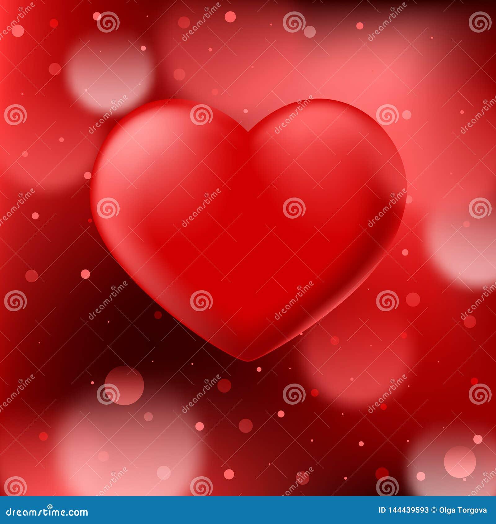 Abstracte rode bokehachtergrond met vlot realistisch hart