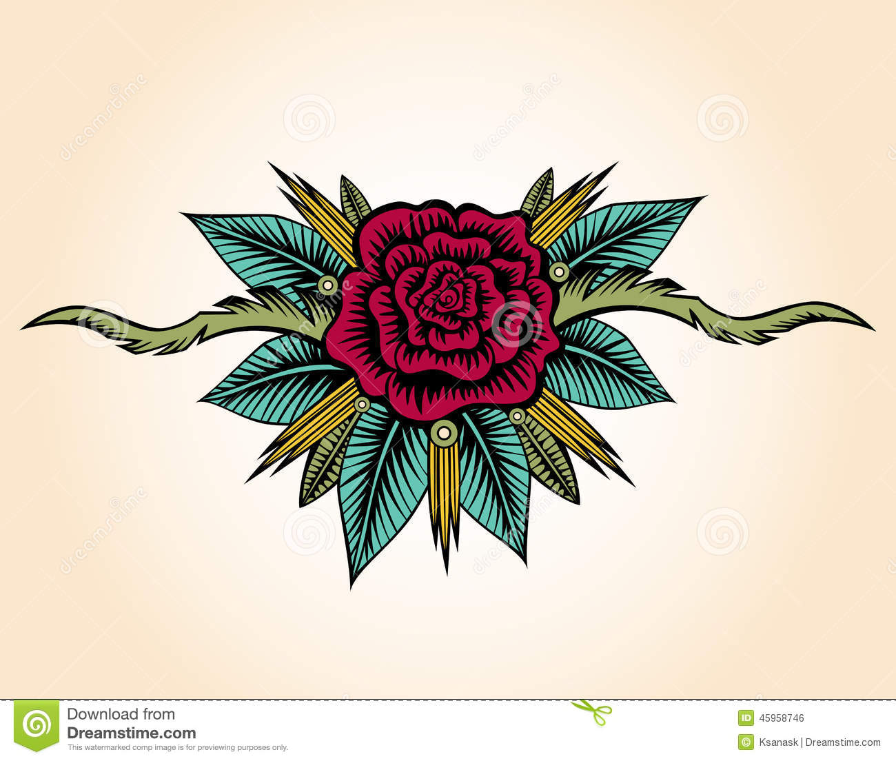 Abstracte Rose And Thorns Tattoo Vector Illustratie Illustratie