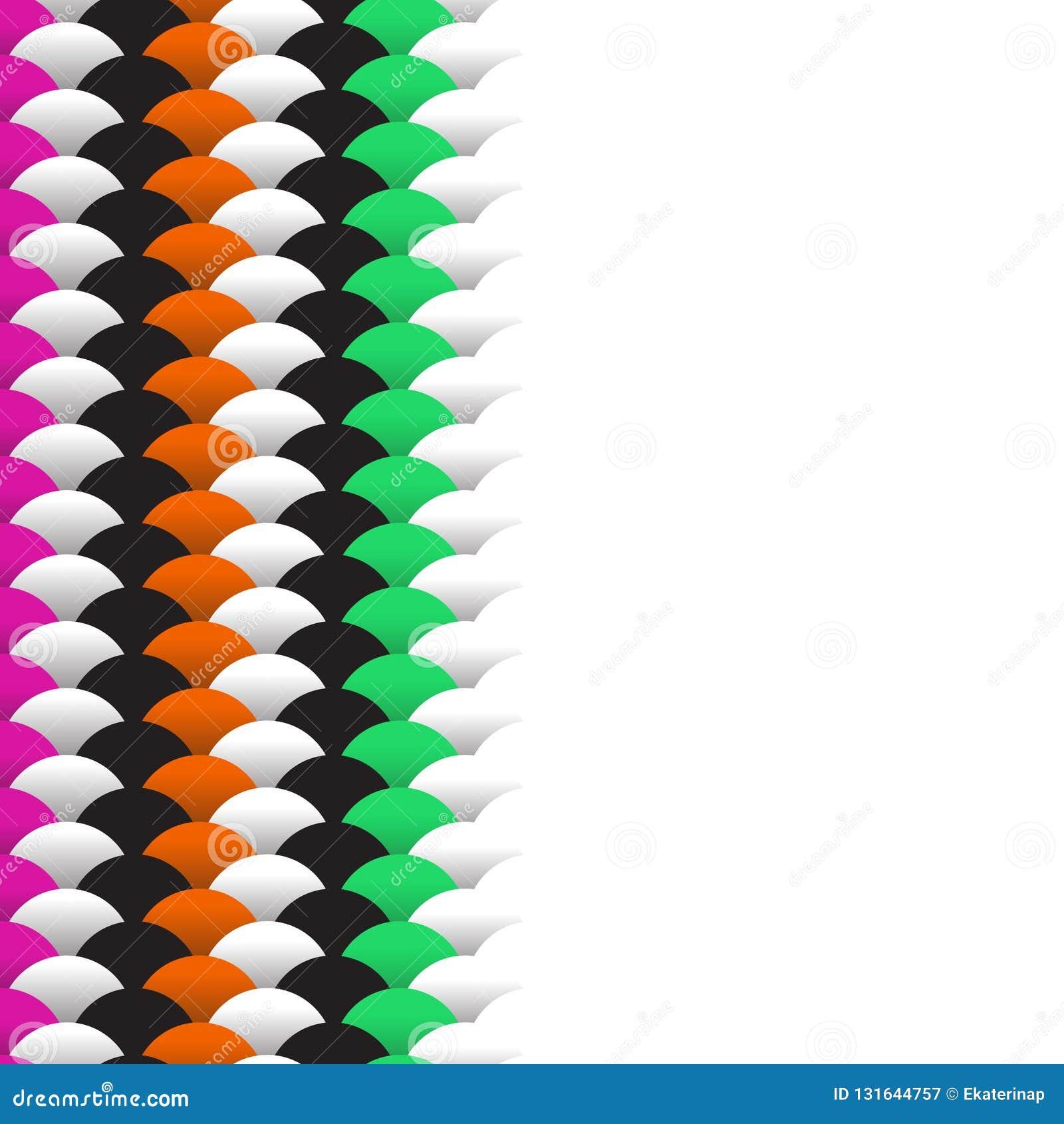 Abstracte schalen eenvoudige achtergrond met het mariene groene oranje roze zwarte wit van het cirkelpatroon Toepasselijk voor Aa