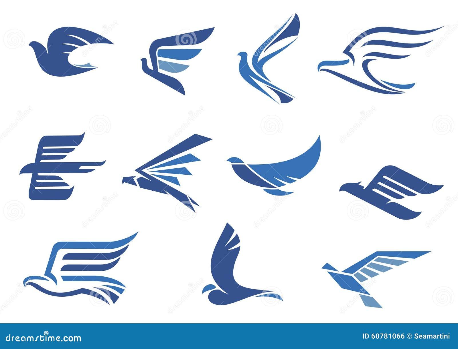 Abstracte snel vliegende blauwe vogels