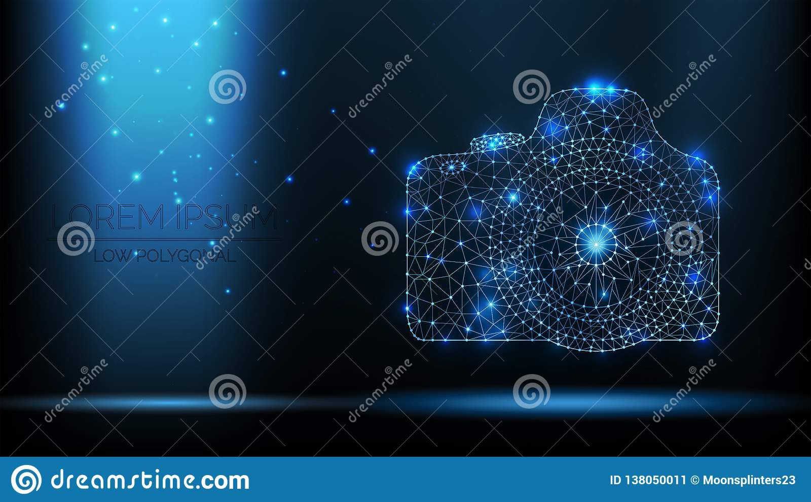 Abstracte vector de fotocamera van wireframeslr 3d moderne illustratie op donkerblauwe achtergrond De lage veelhoekige netwerkkun