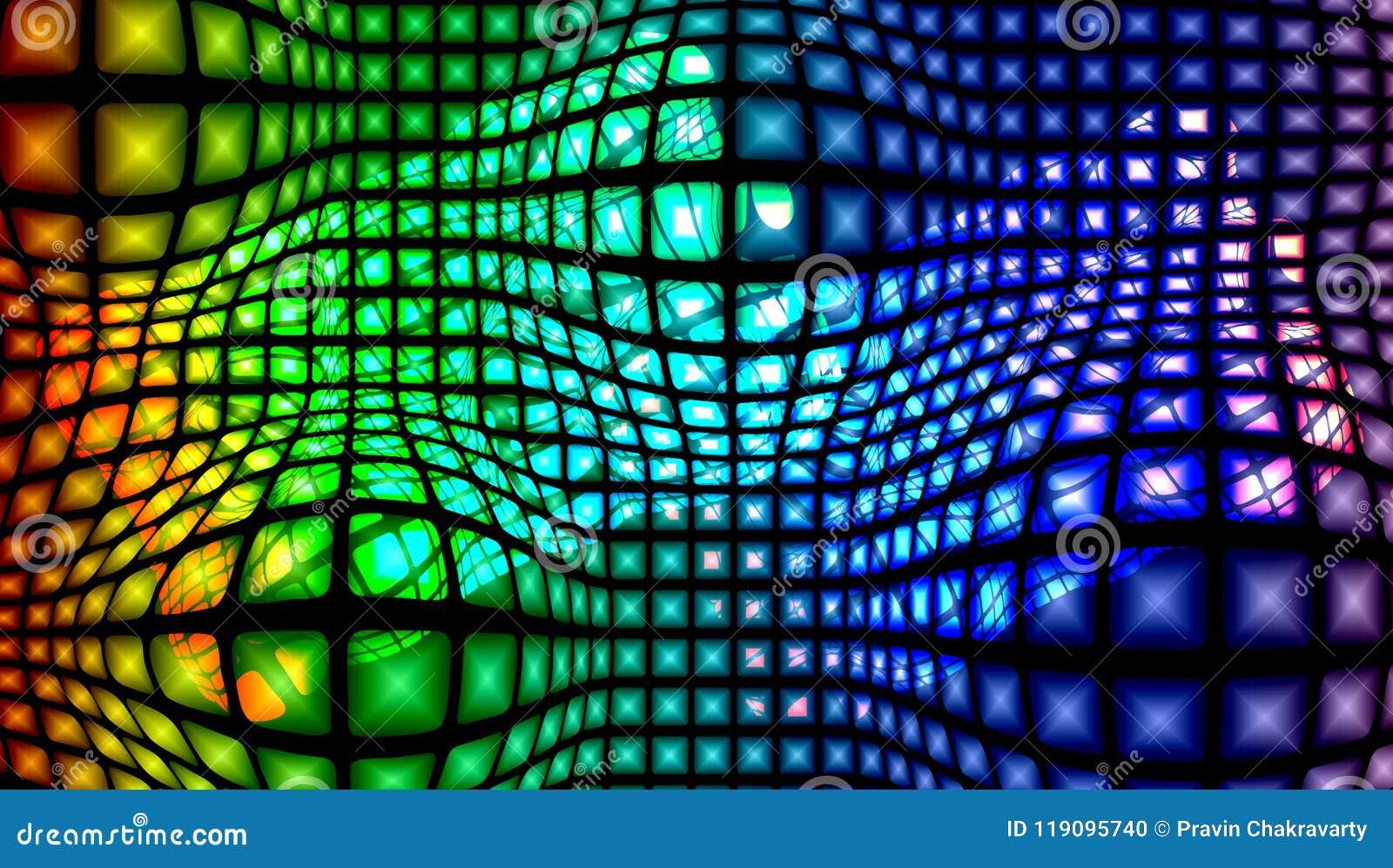 Abstracte vector multicolored geweven achtergrond met verlichtingseffect, vectorillustratie