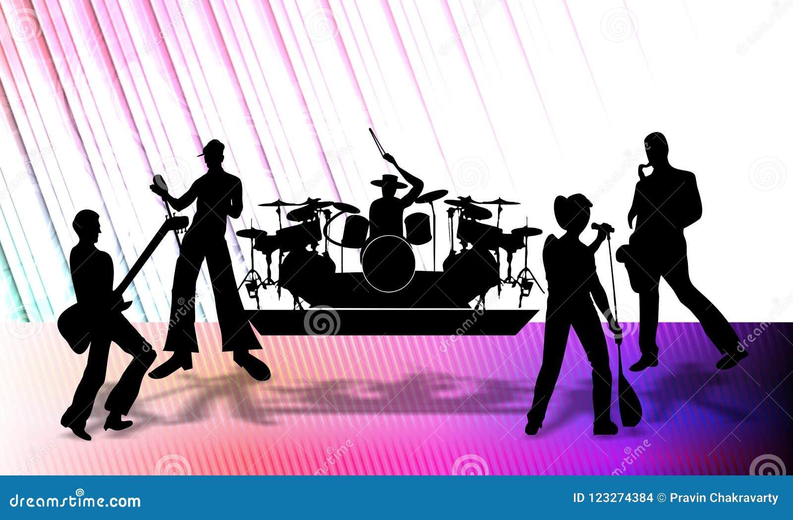 Abstracte vector muzikale groep die een programma over stadium, vectorillustratie voorleggen