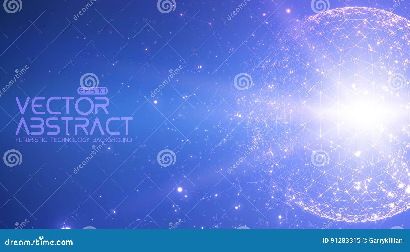 Abstracte vector ruimte blauwe achtergrond Chaotically verbonden punten en veelhoeken die in ruimte vliegen Vliegend puin