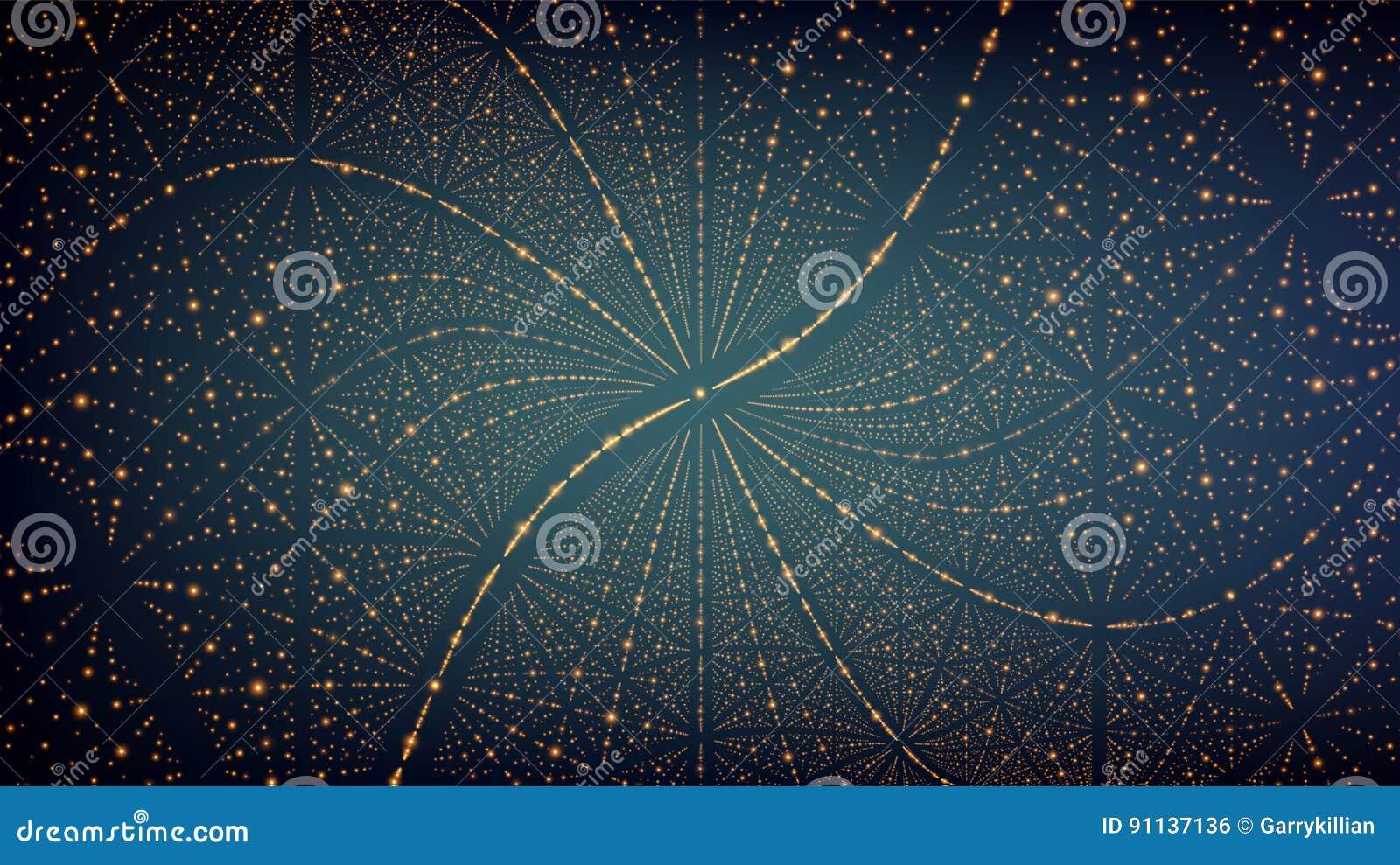 Abstracte vectorachtergrond Matrijs van gloeiende sterren met illusie van diepte en perspectief